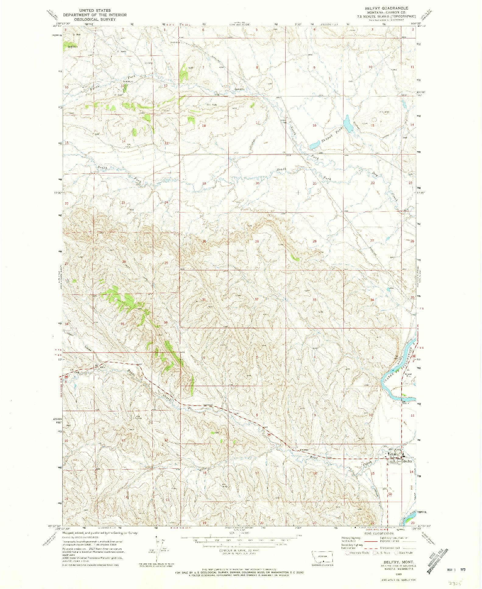 USGS 1:24000-SCALE QUADRANGLE FOR BELFRY, MT 1969