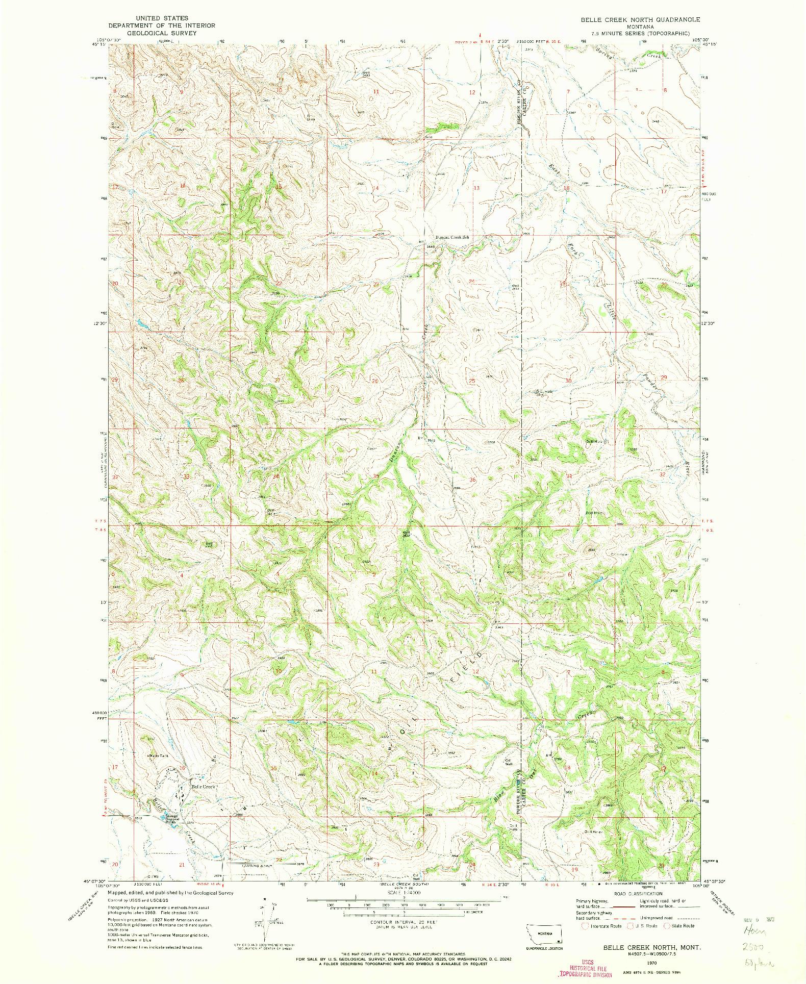 USGS 1:24000-SCALE QUADRANGLE FOR BELLE CREEK NORTH, MT 1970
