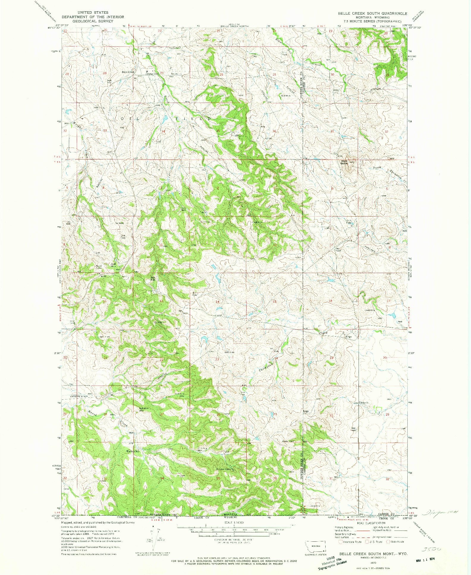USGS 1:24000-SCALE QUADRANGLE FOR BELLE CREEK SOUTH, MT 1970