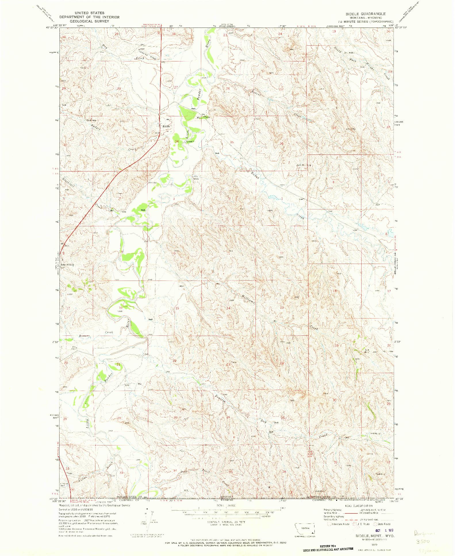 USGS 1:24000-SCALE QUADRANGLE FOR BIDDLE, MT 1970