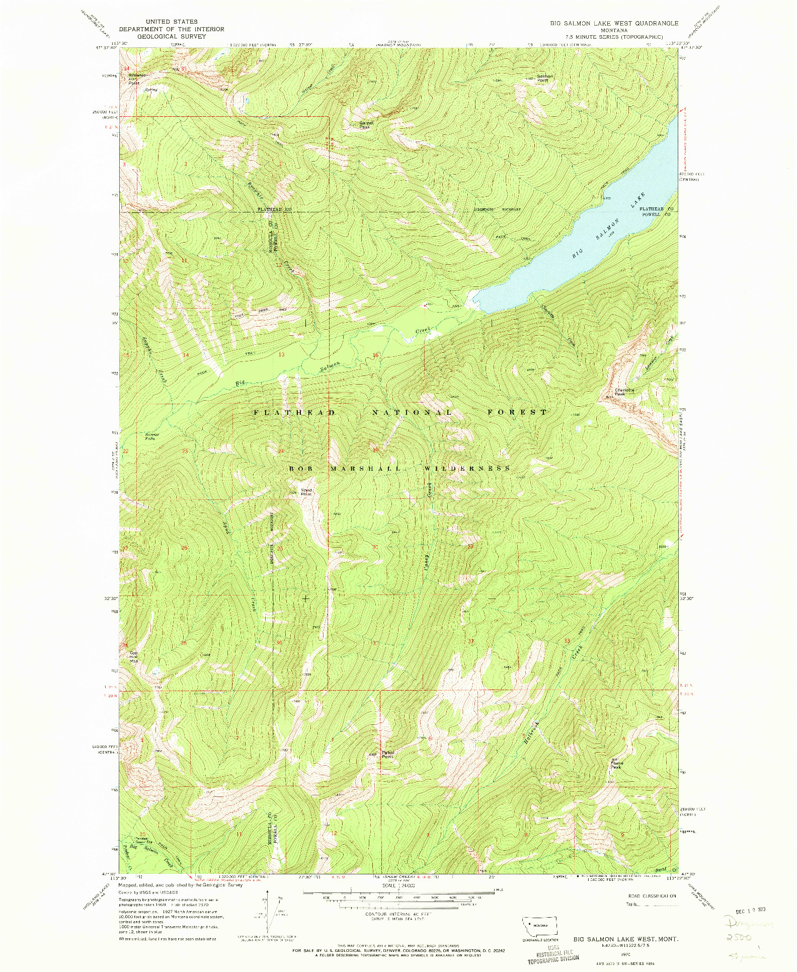 USGS 1:24000-SCALE QUADRANGLE FOR BIG SALMON LAKE WEST, MT 1970