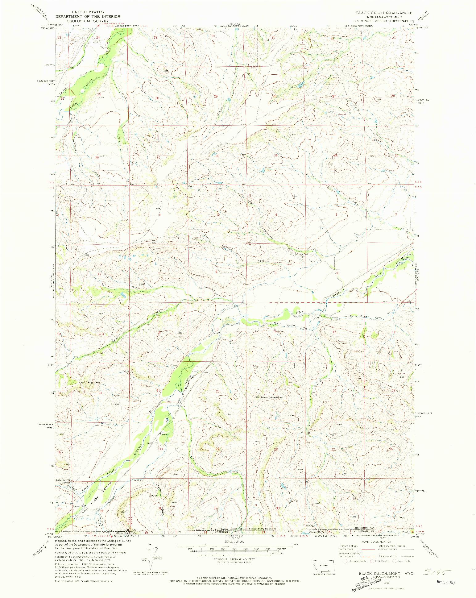 USGS 1:24000-SCALE QUADRANGLE FOR BLACK GULCH, MT 1969