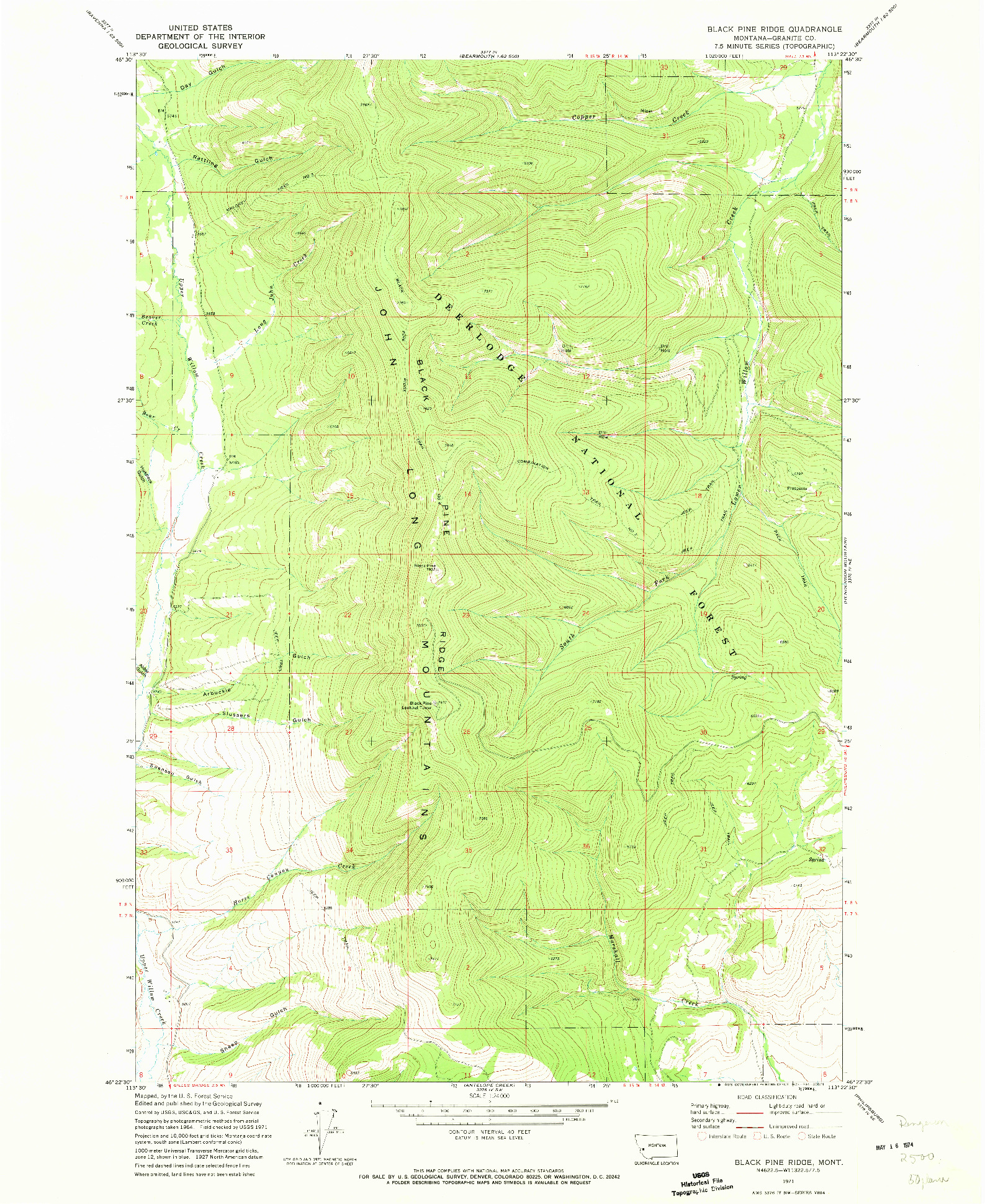 USGS 1:24000-SCALE QUADRANGLE FOR BLACK PINE RIDGE, MT 1971
