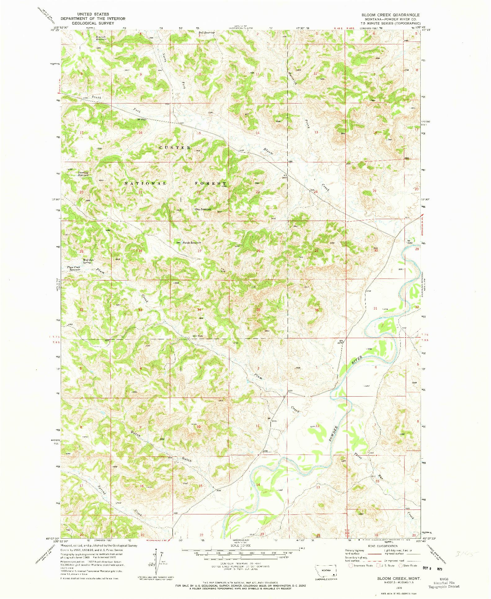USGS 1:24000-SCALE QUADRANGLE FOR BLOOM CREEK, MT 1970