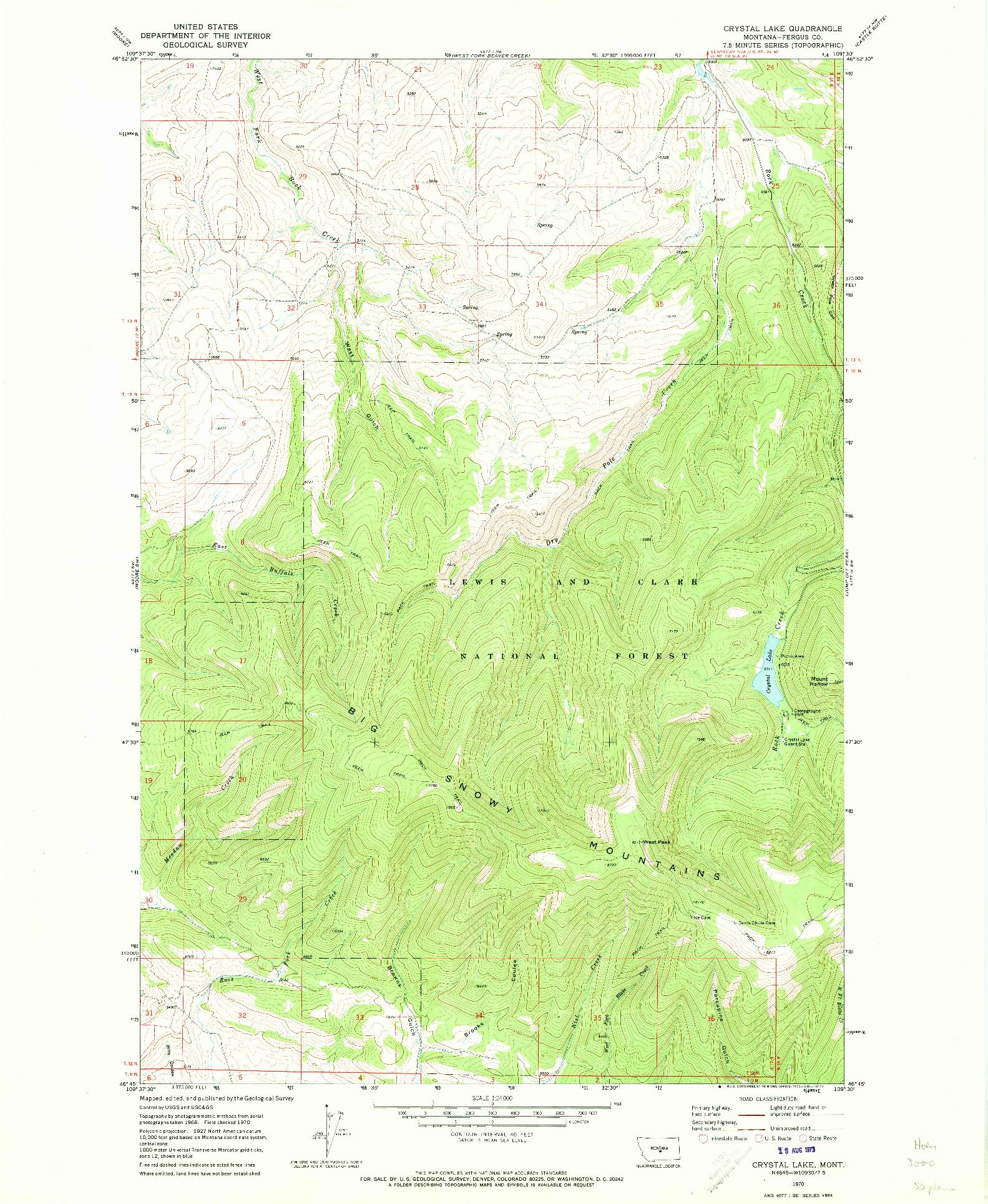USGS 1:24000-SCALE QUADRANGLE FOR CRYSTAL LAKE, MT 1970
