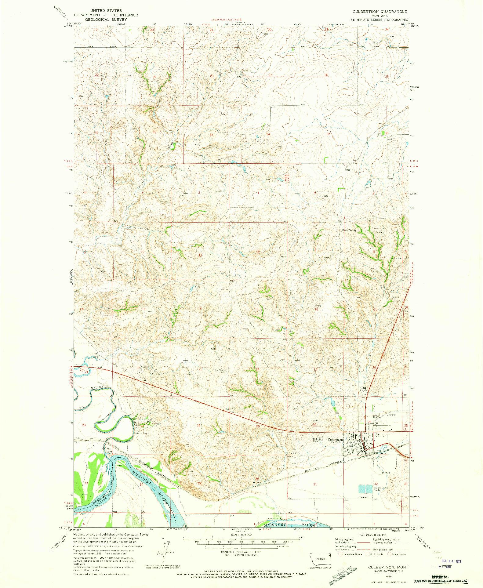 USGS 1:24000-SCALE QUADRANGLE FOR CULBERTSON, MT 1969