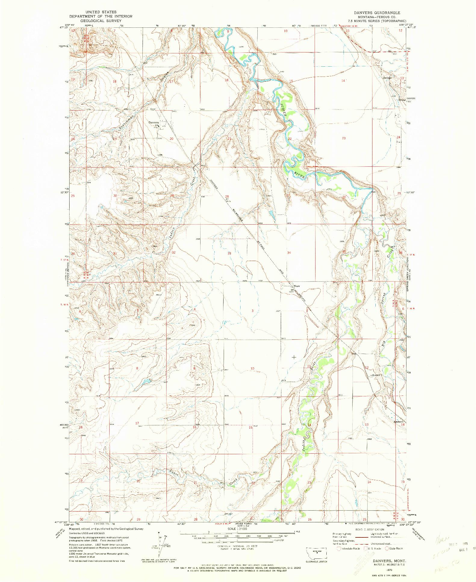 USGS 1:24000-SCALE QUADRANGLE FOR DANVERS, MT 1970
