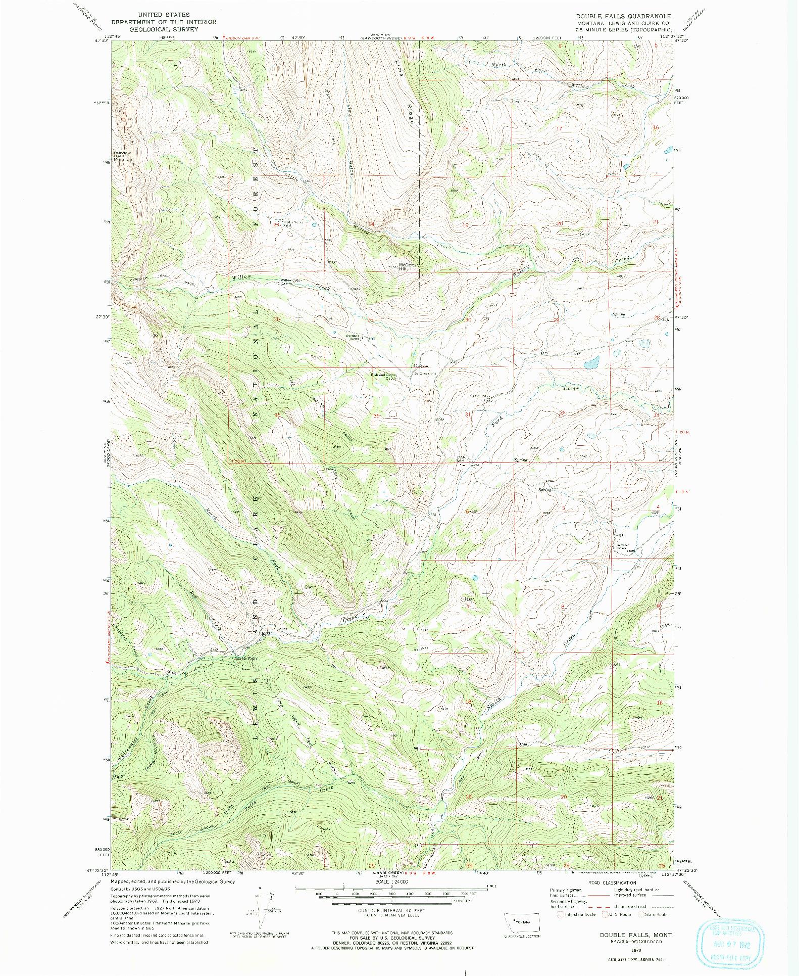 USGS 1:24000-SCALE QUADRANGLE FOR DOUBLE FALLS, MT 1970