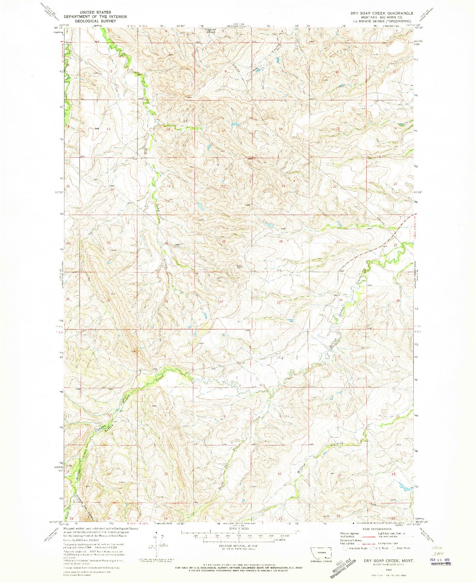 USGS 1:24000-SCALE QUADRANGLE FOR DRY SOAP CREEK, MT 1969