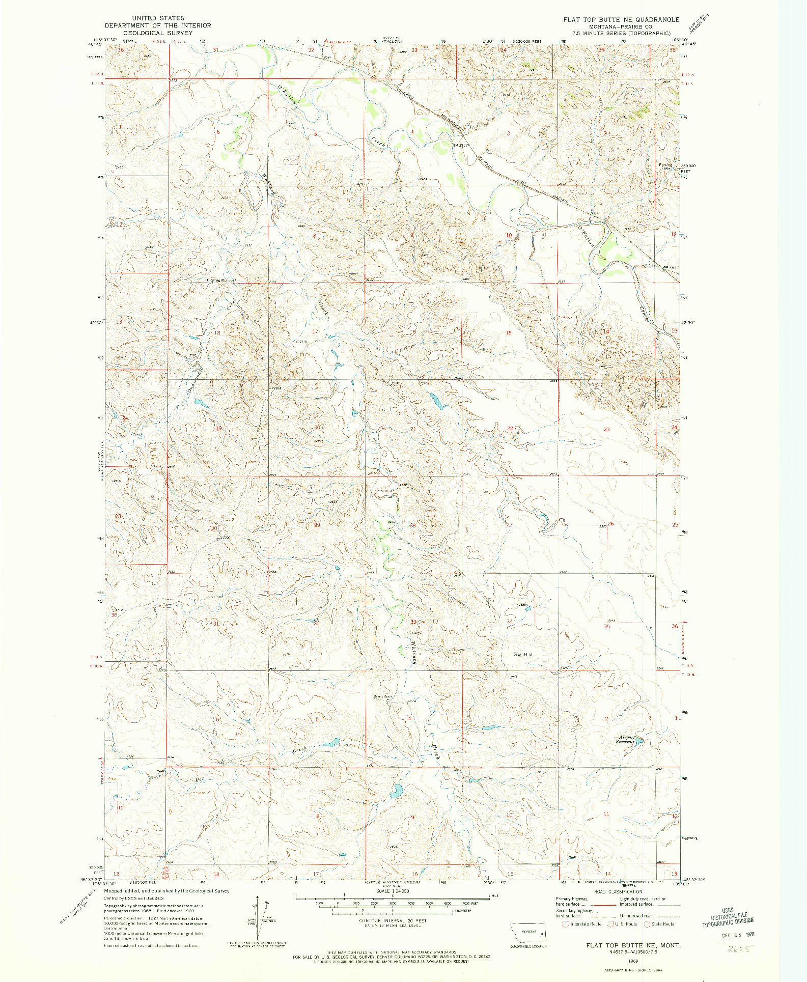 USGS 1:24000-SCALE QUADRANGLE FOR FLAT TOP BUTTE NE, MT 1969