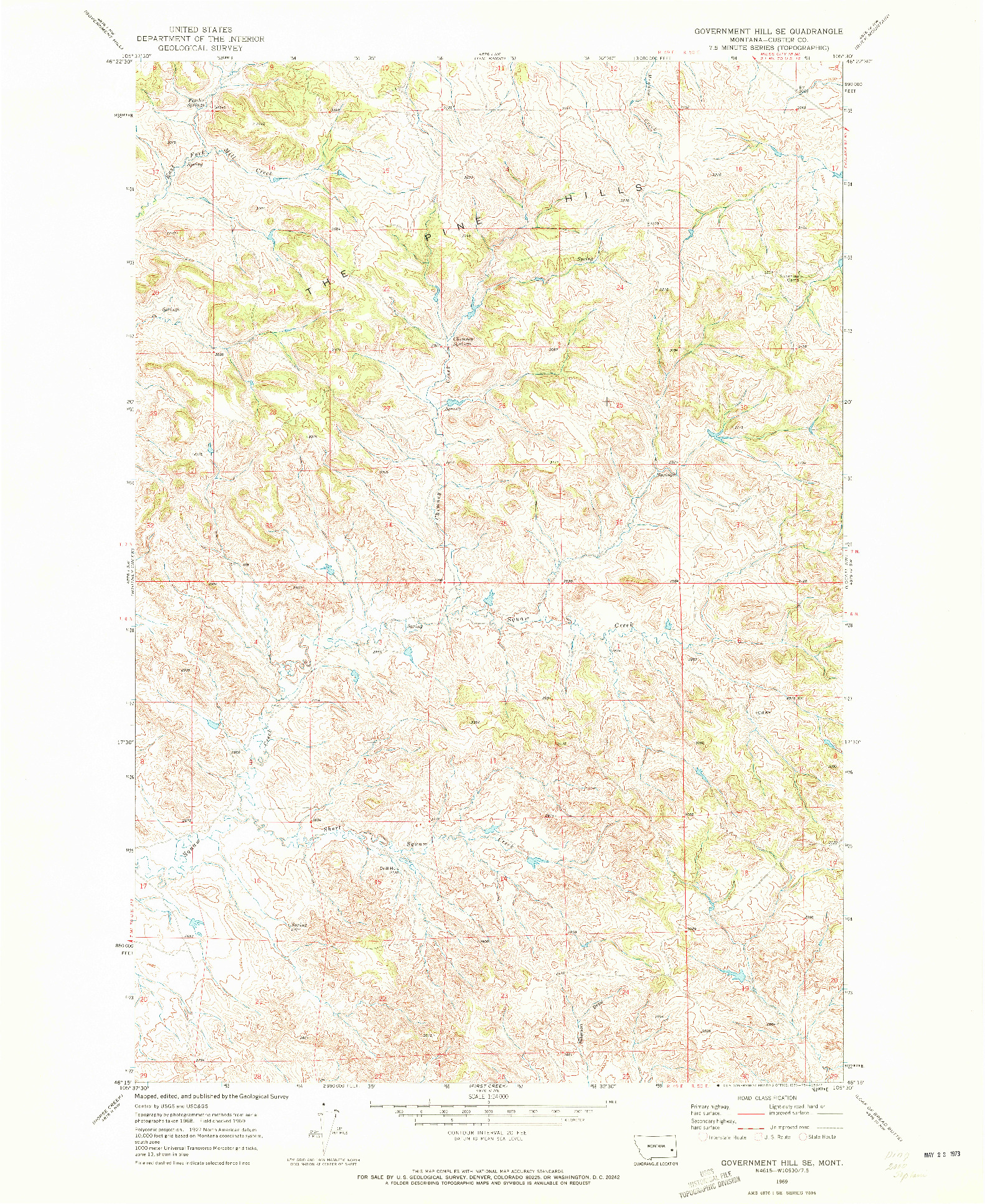 USGS 1:24000-SCALE QUADRANGLE FOR GOVERNMENT HILL SE, MT 1969