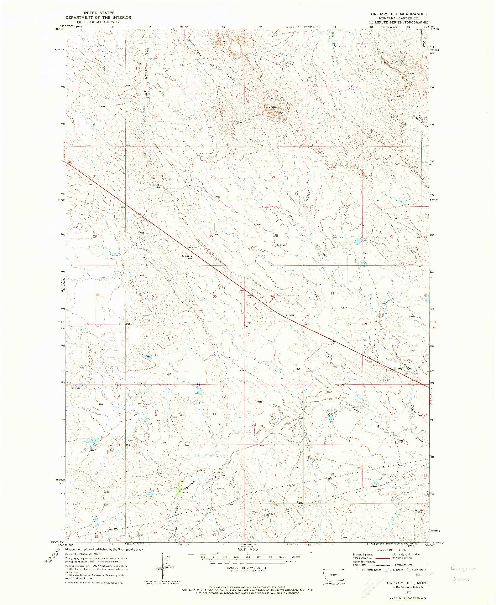 USGS 1:24000-SCALE QUADRANGLE FOR GREASY HILL, MT 1970