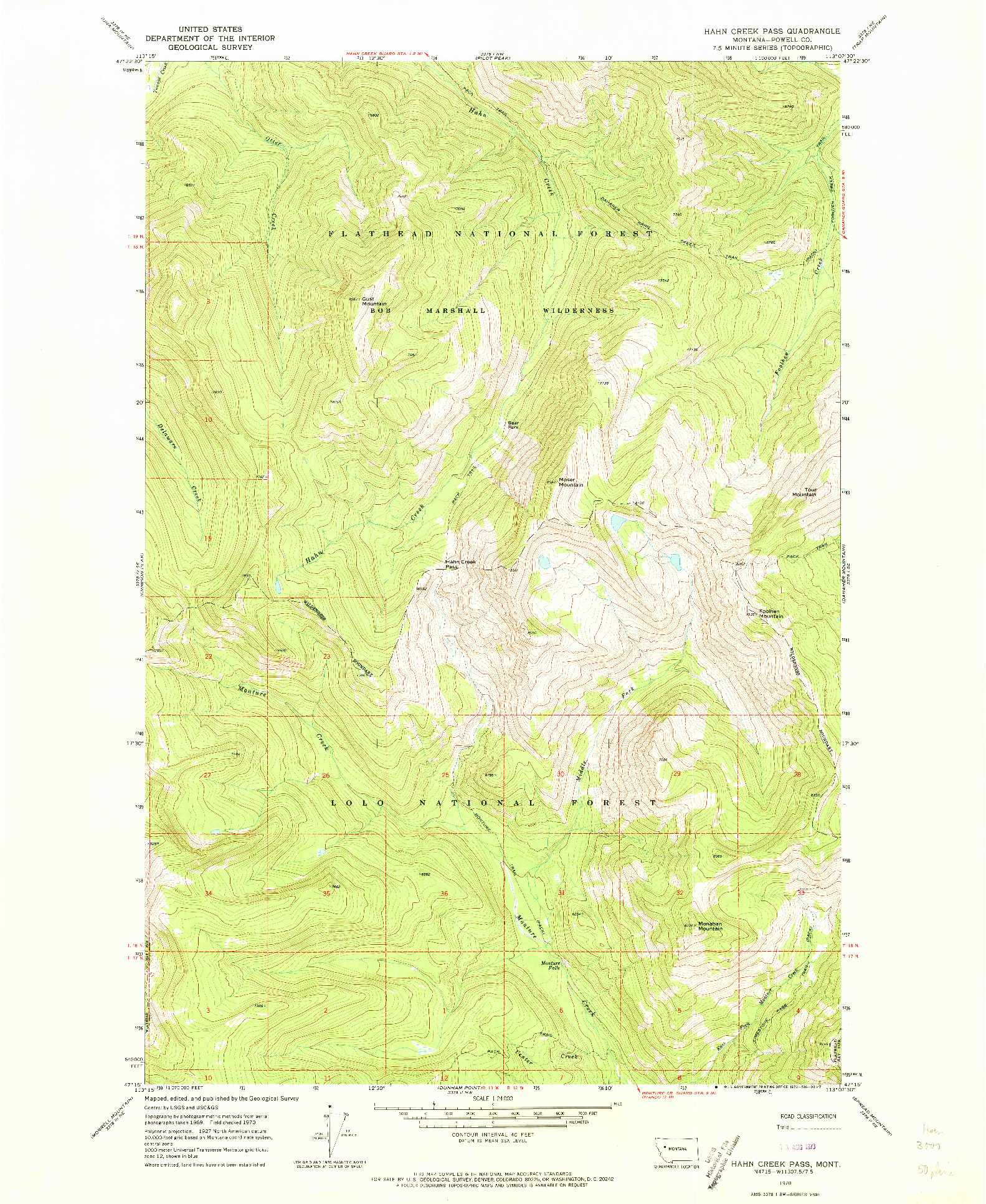 USGS 1:24000-SCALE QUADRANGLE FOR HAHN CREEK PASS, MT 1970