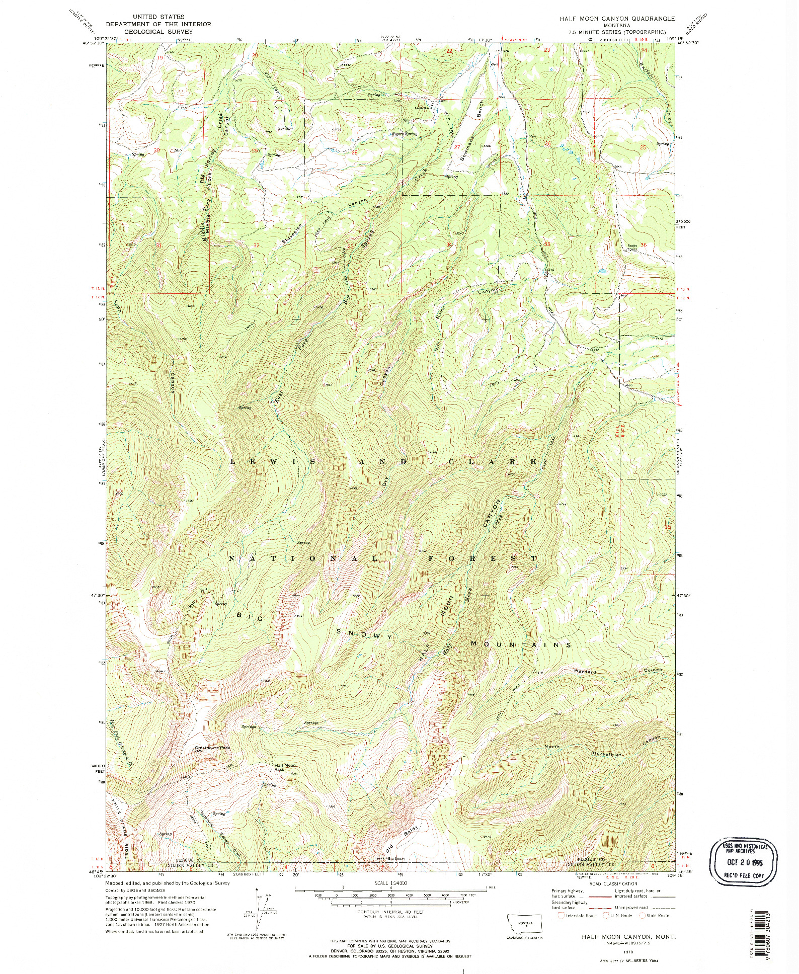 USGS 1:24000-SCALE QUADRANGLE FOR HALF MOON CANYON, MT 1970