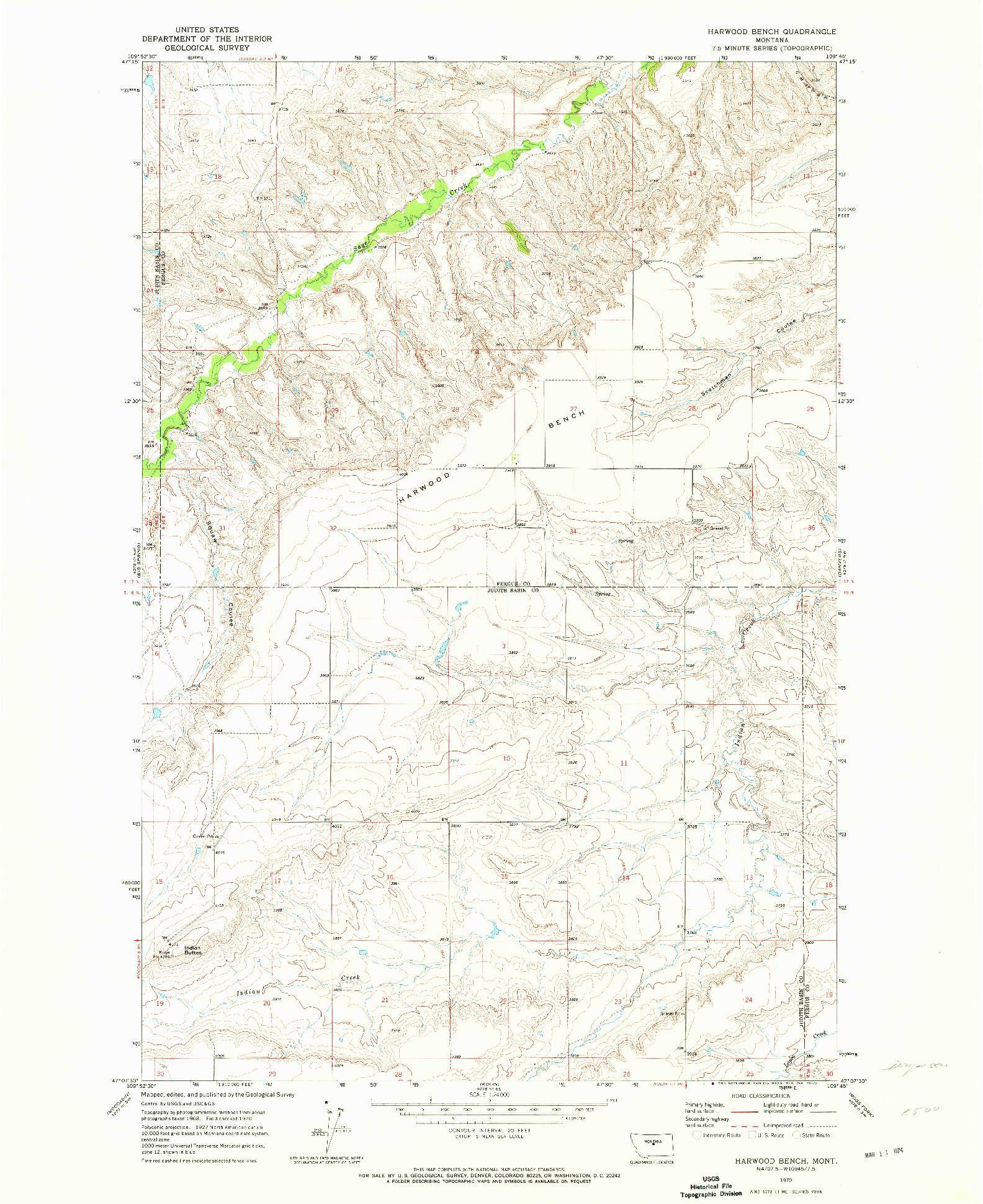 USGS 1:24000-SCALE QUADRANGLE FOR HARWOOD BENCH, MT 1970