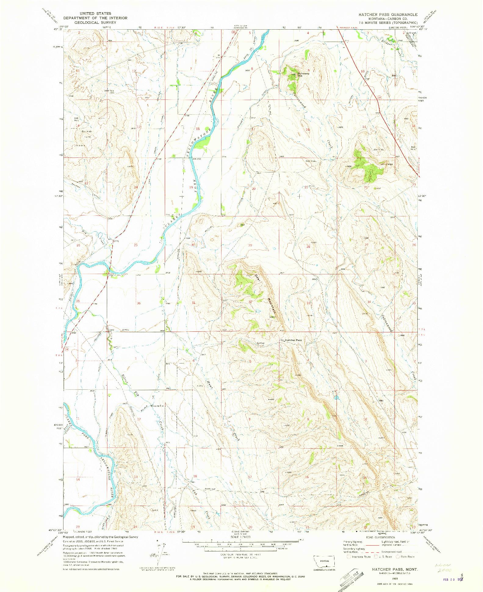 USGS 1:24000-SCALE QUADRANGLE FOR HATCHER PASS, MT 1969