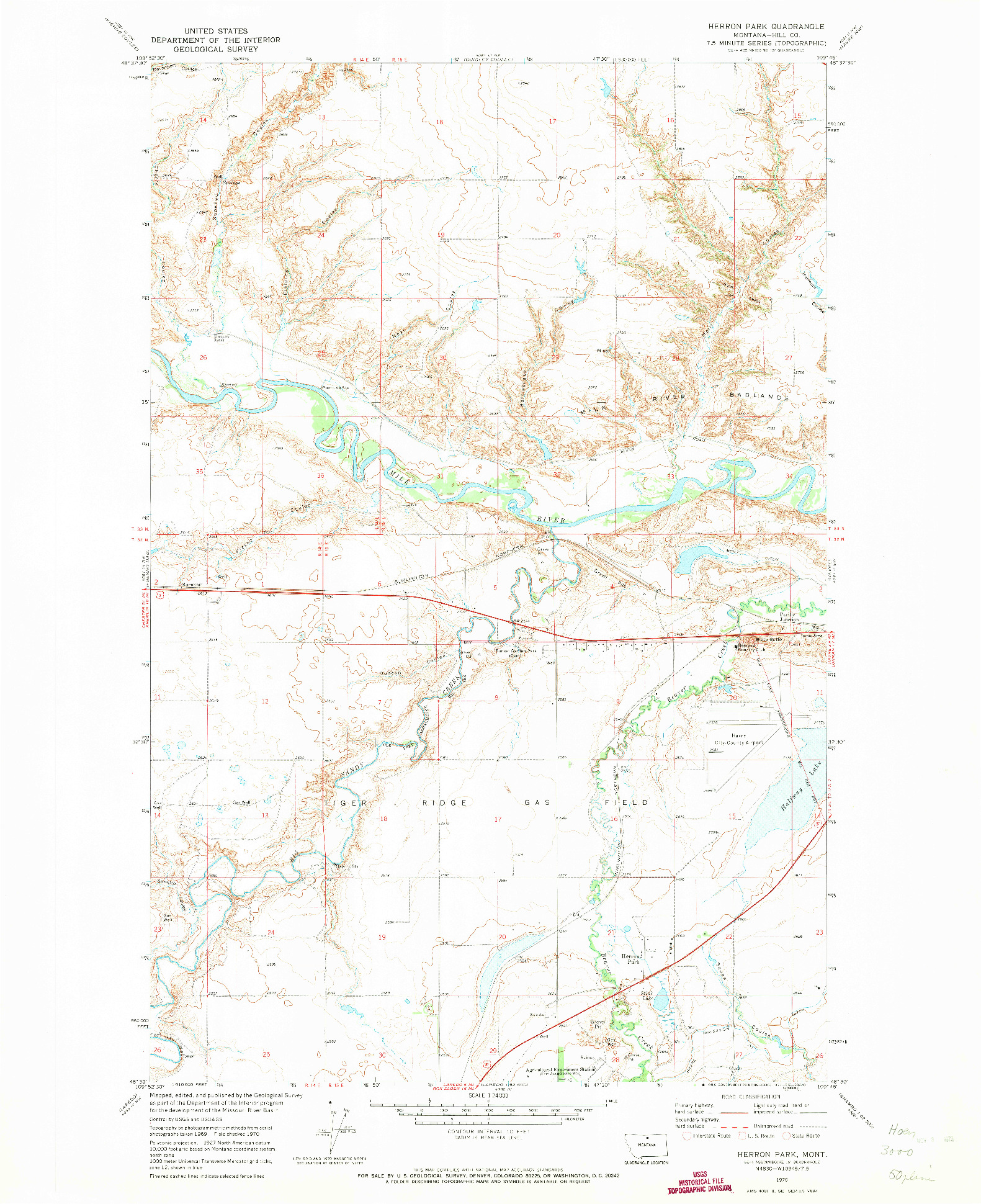 USGS 1:24000-SCALE QUADRANGLE FOR HERRON PARK, MT 1970