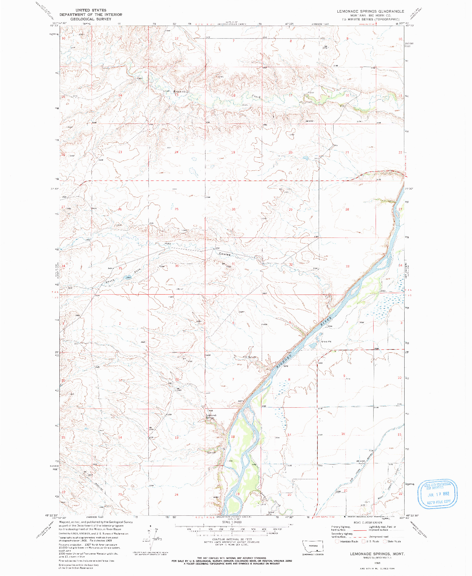 USGS 1:24000-SCALE QUADRANGLE FOR LEMONADE SPRINGS, MT 1969