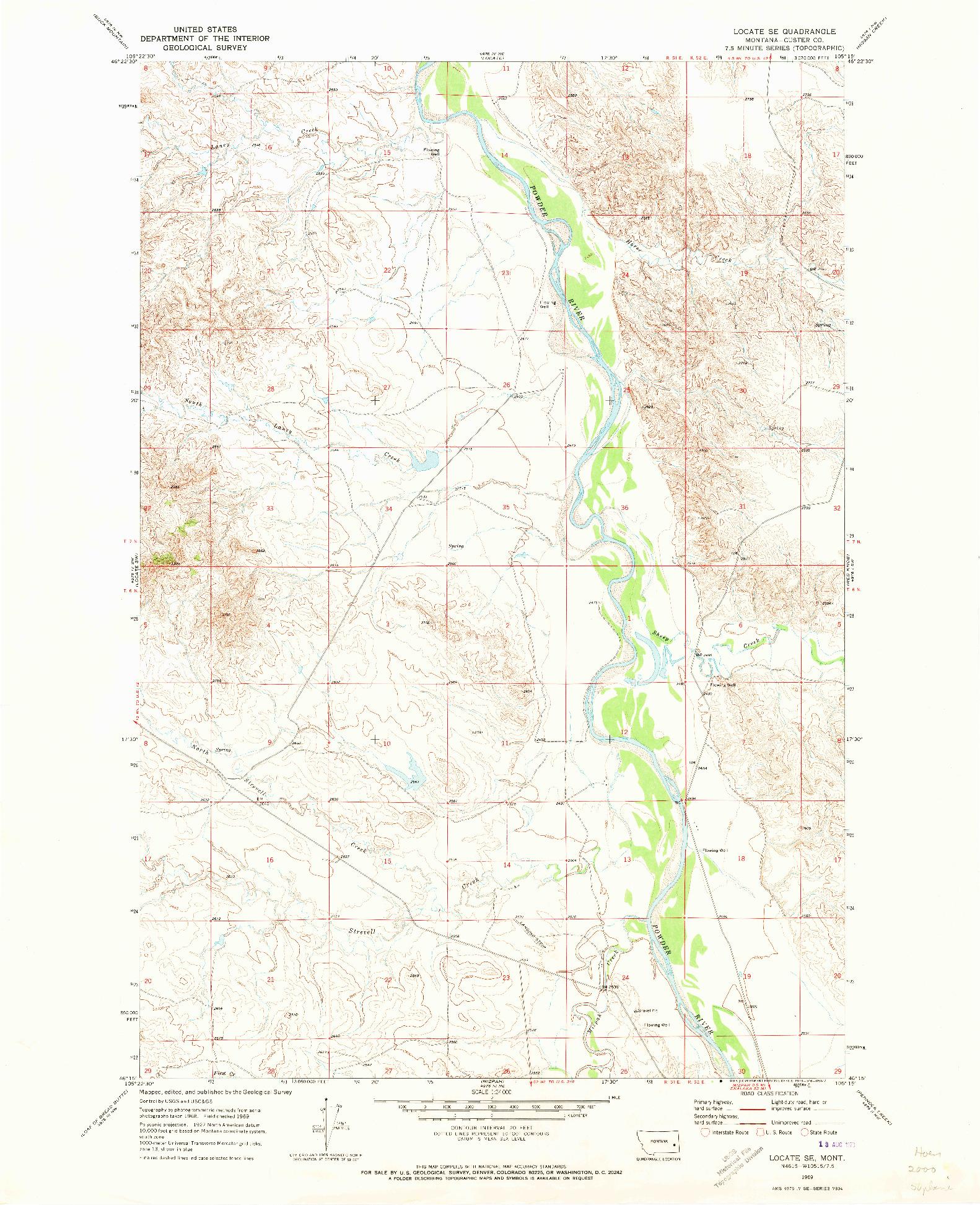 USGS 1:24000-SCALE QUADRANGLE FOR LOCATE SE, MT 1969