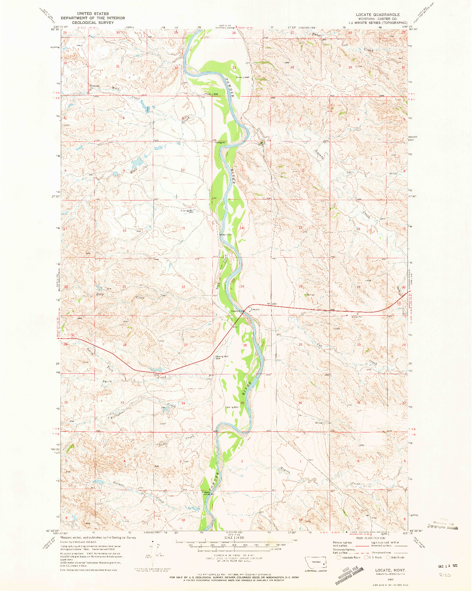 USGS 1:24000-SCALE QUADRANGLE FOR LOCATE, MT 1969