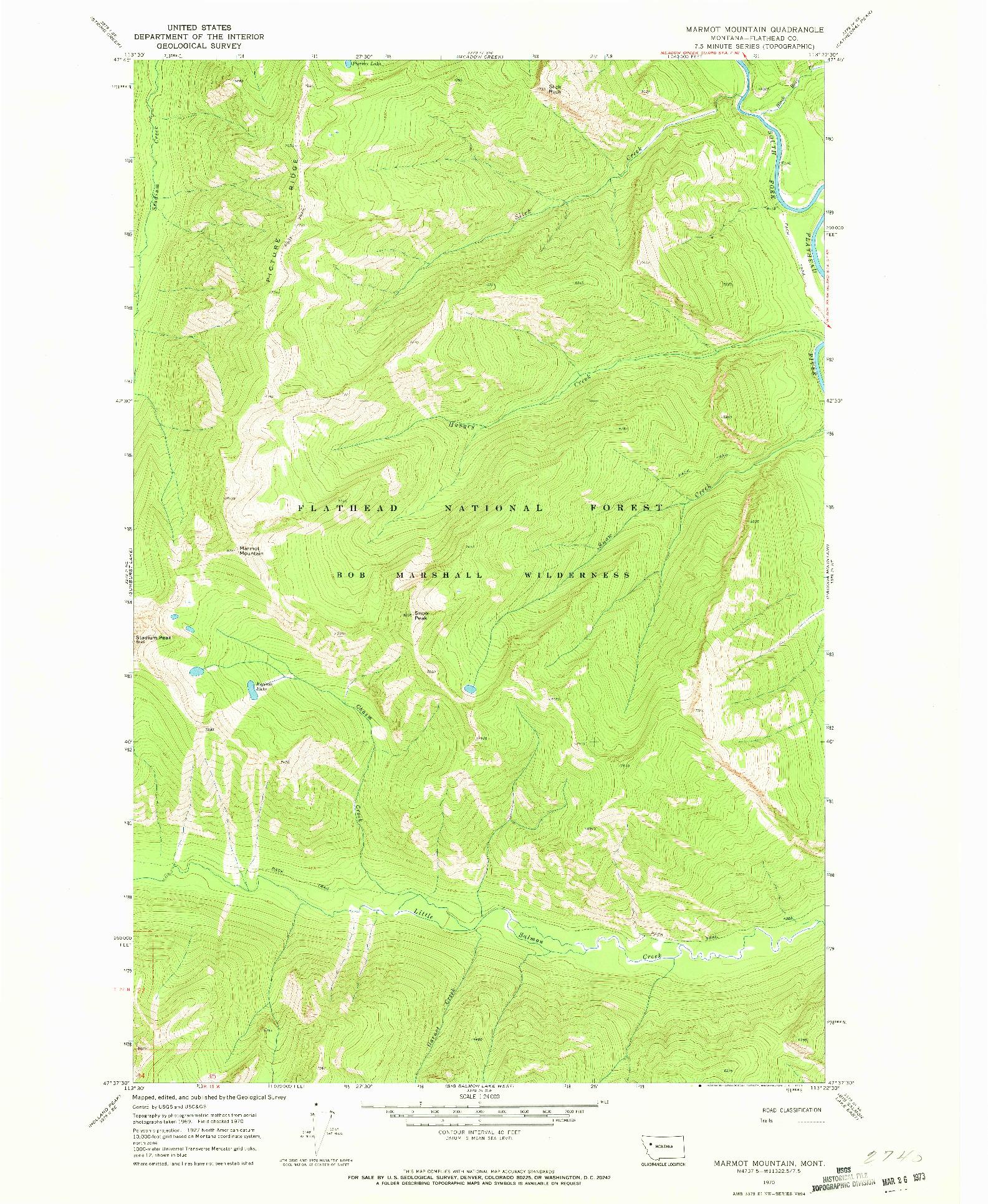 USGS 1:24000-SCALE QUADRANGLE FOR MARMOT MOUNTAIN, MT 1970