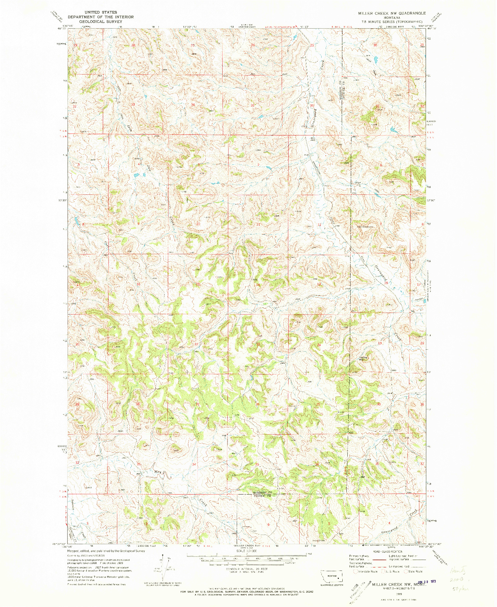 USGS 1:24000-SCALE QUADRANGLE FOR MILLER CREEK NW, MT 1969