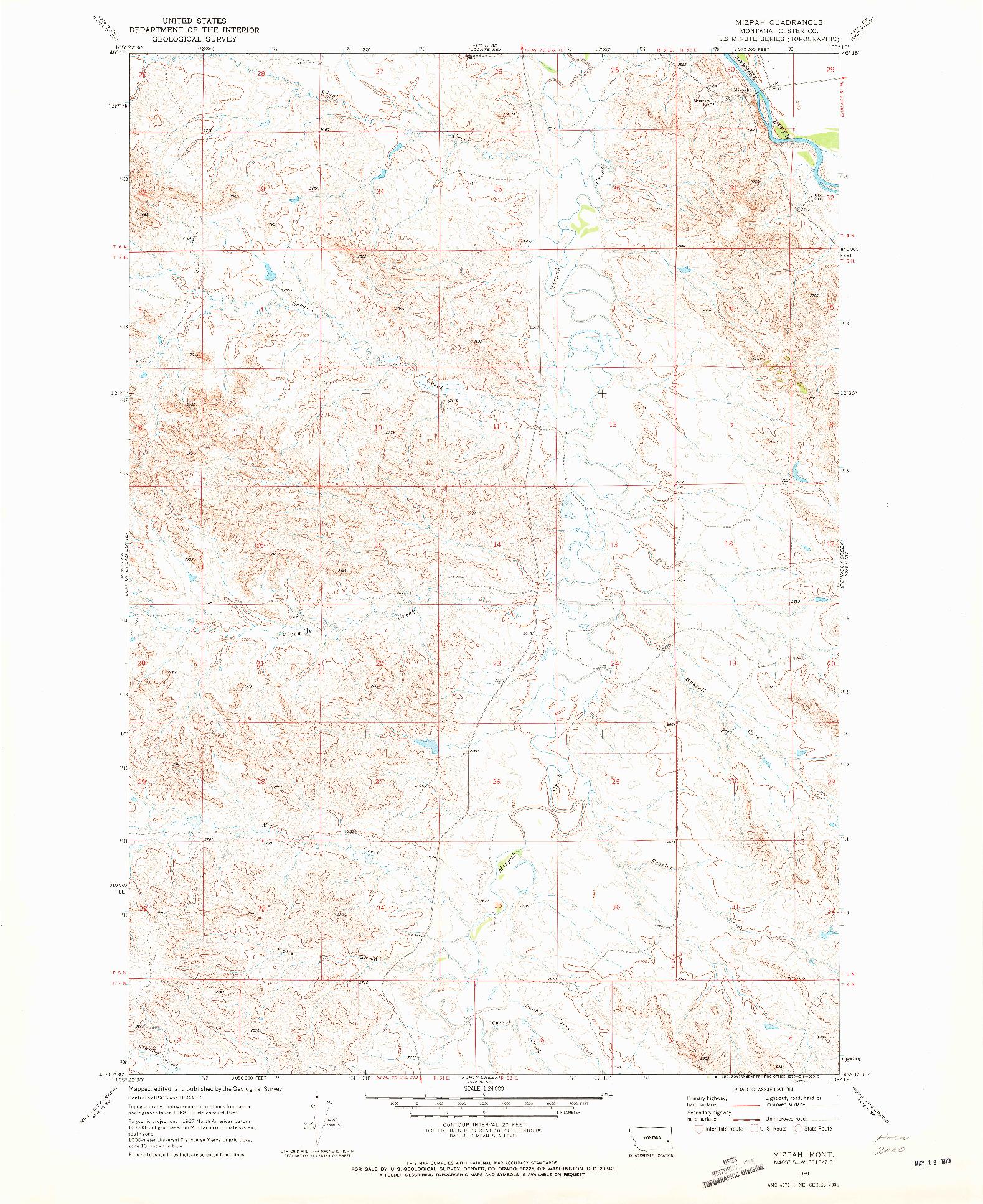USGS 1:24000-SCALE QUADRANGLE FOR MIZPAH, MT 1969