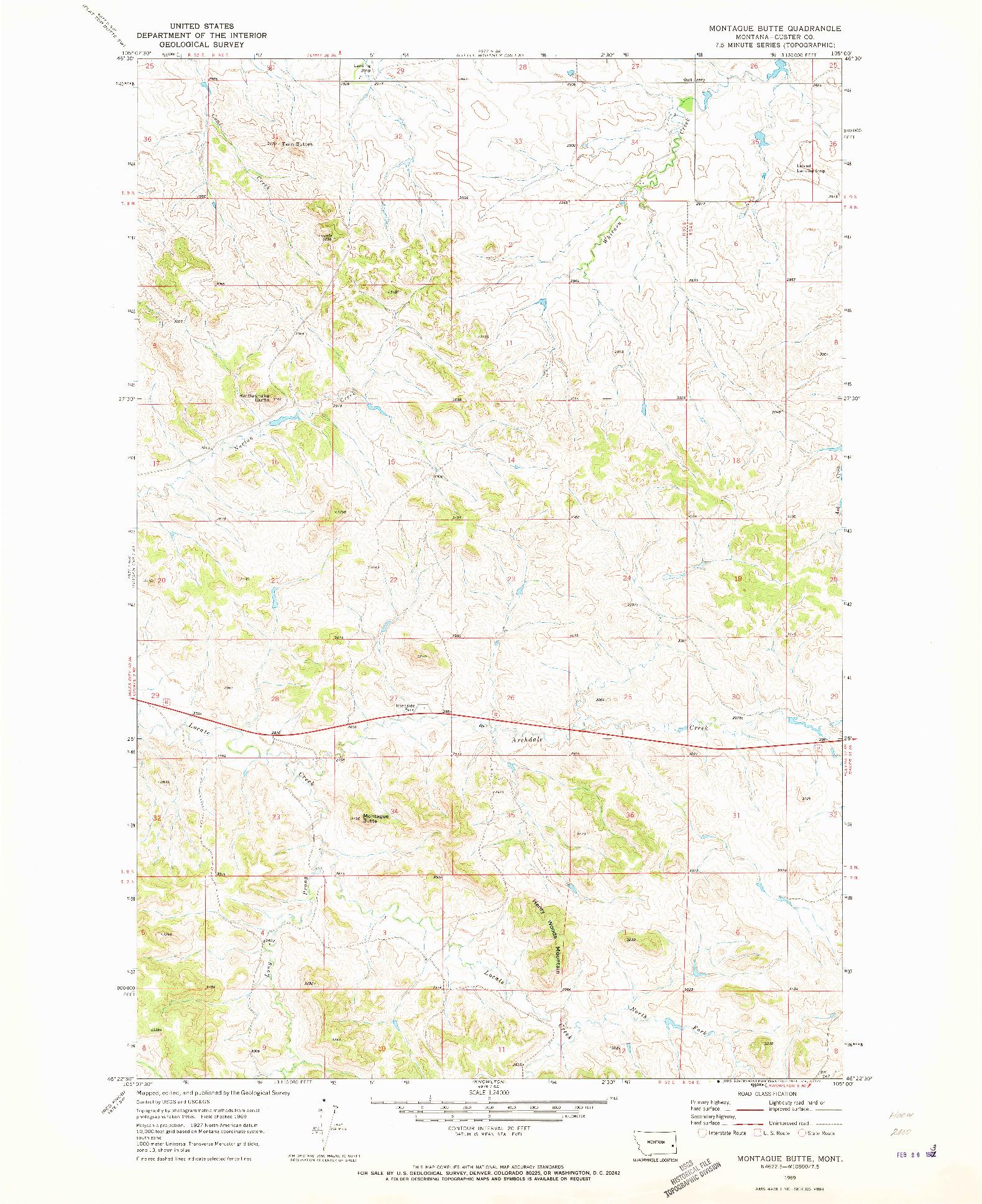 USGS 1:24000-SCALE QUADRANGLE FOR MONTAGUE BUTTE, MT 1969