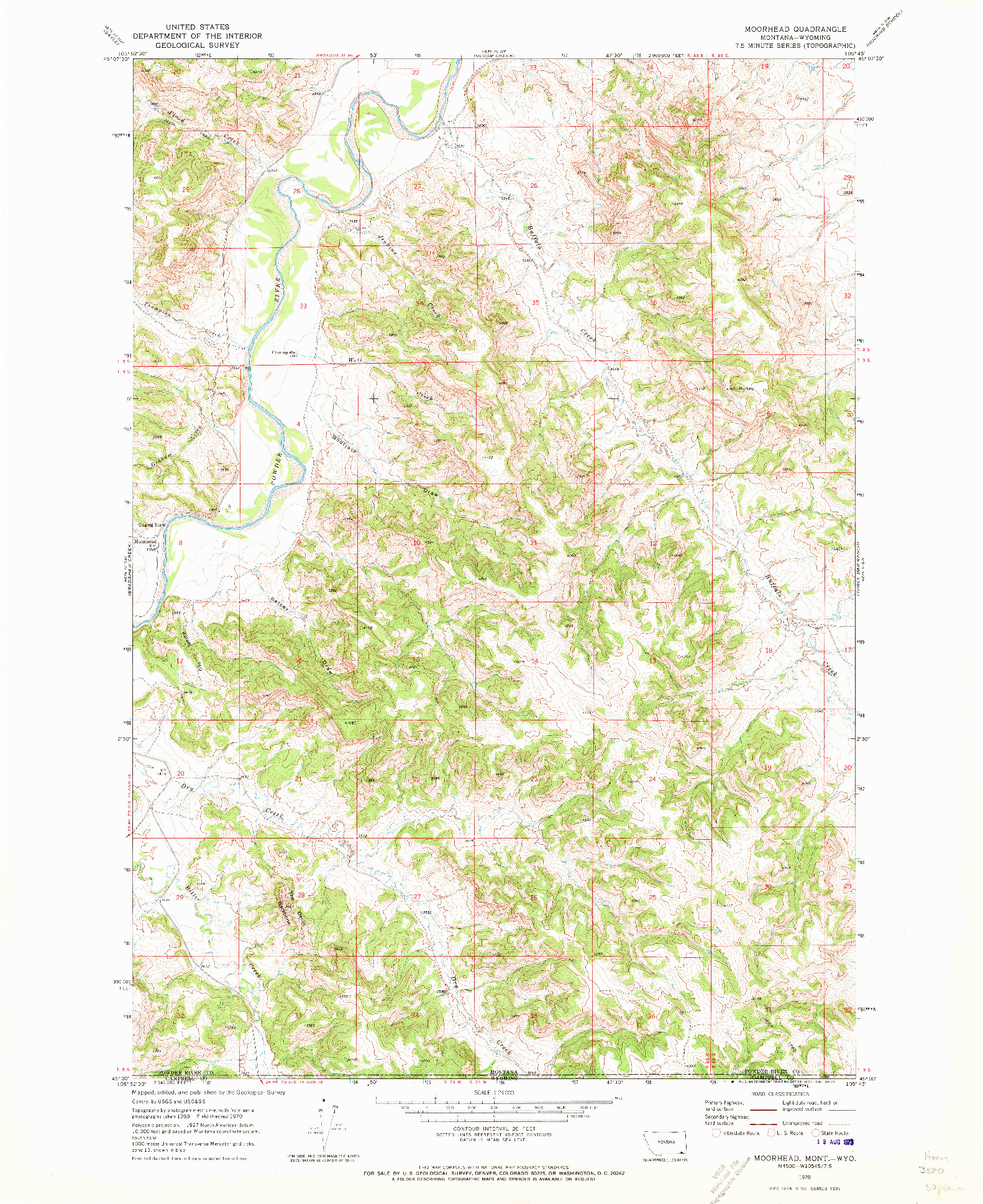USGS 1:24000-SCALE QUADRANGLE FOR MOORHEAD, MT 1970