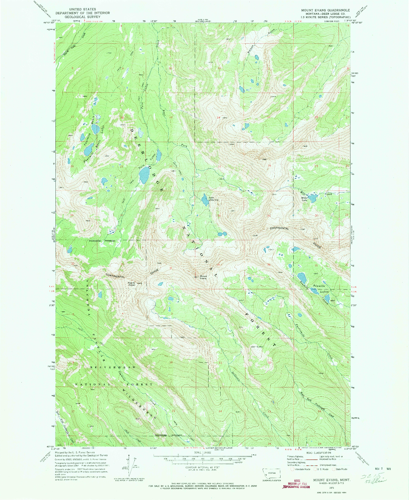 USGS 1:24000-SCALE QUADRANGLE FOR MOUNT EVANS, MT 1971