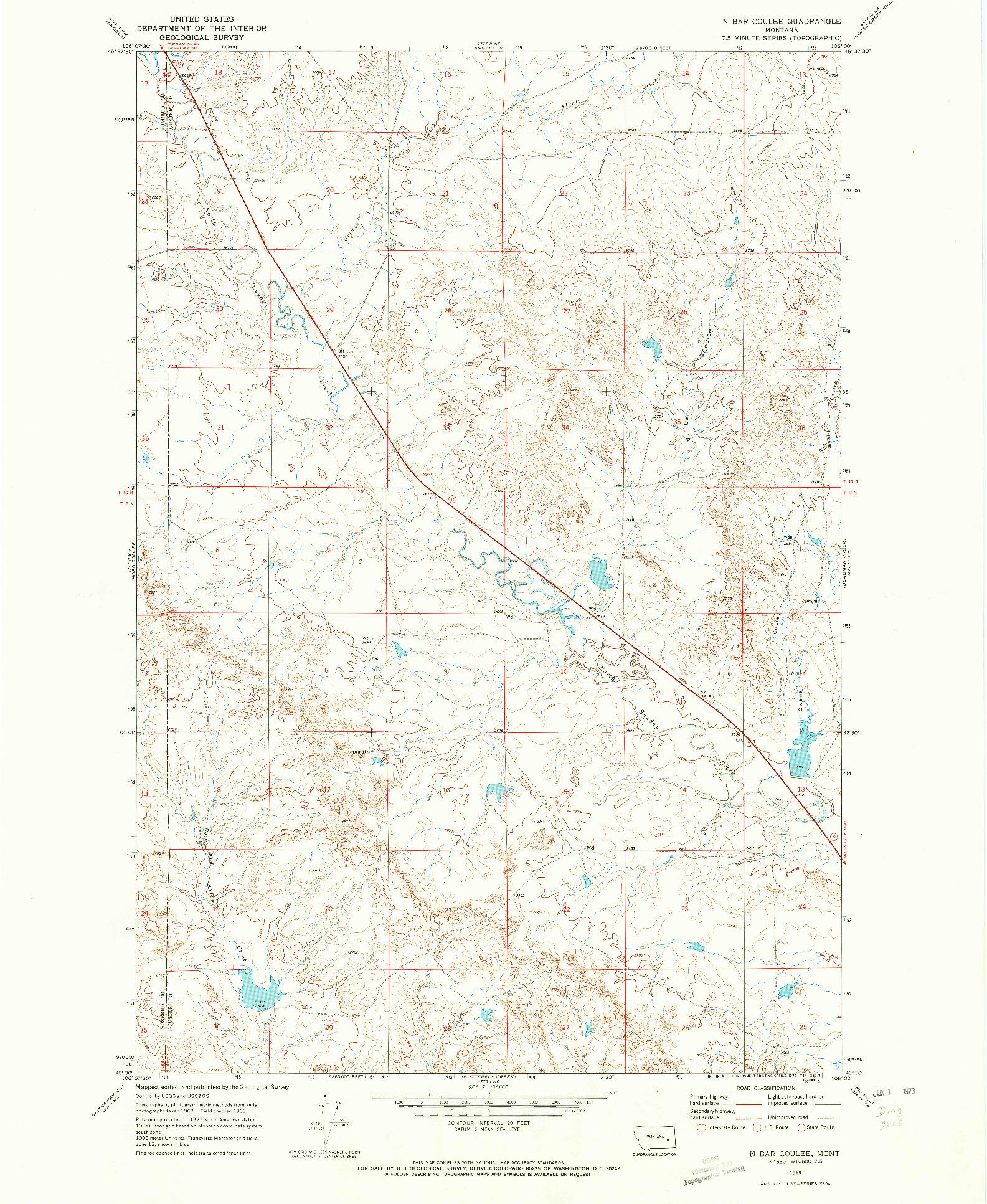 USGS 1:24000-SCALE QUADRANGLE FOR N BAR COULEE, MT 1969