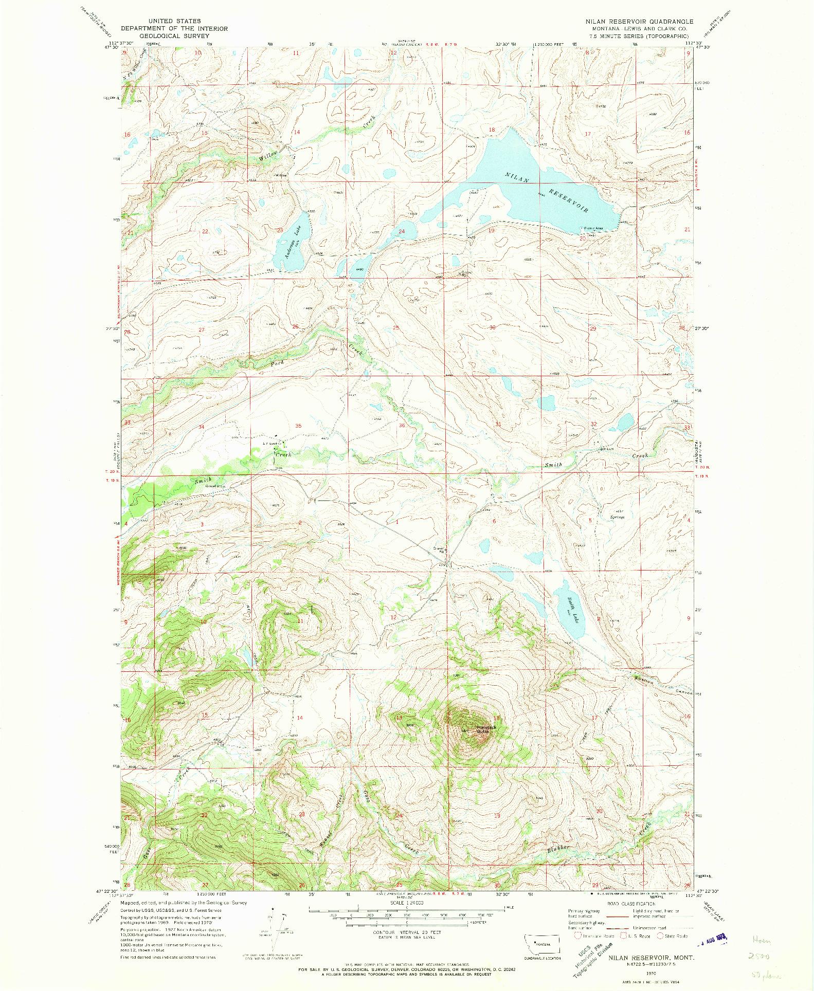USGS 1:24000-SCALE QUADRANGLE FOR NILAN RESERVOIR, MT 1970