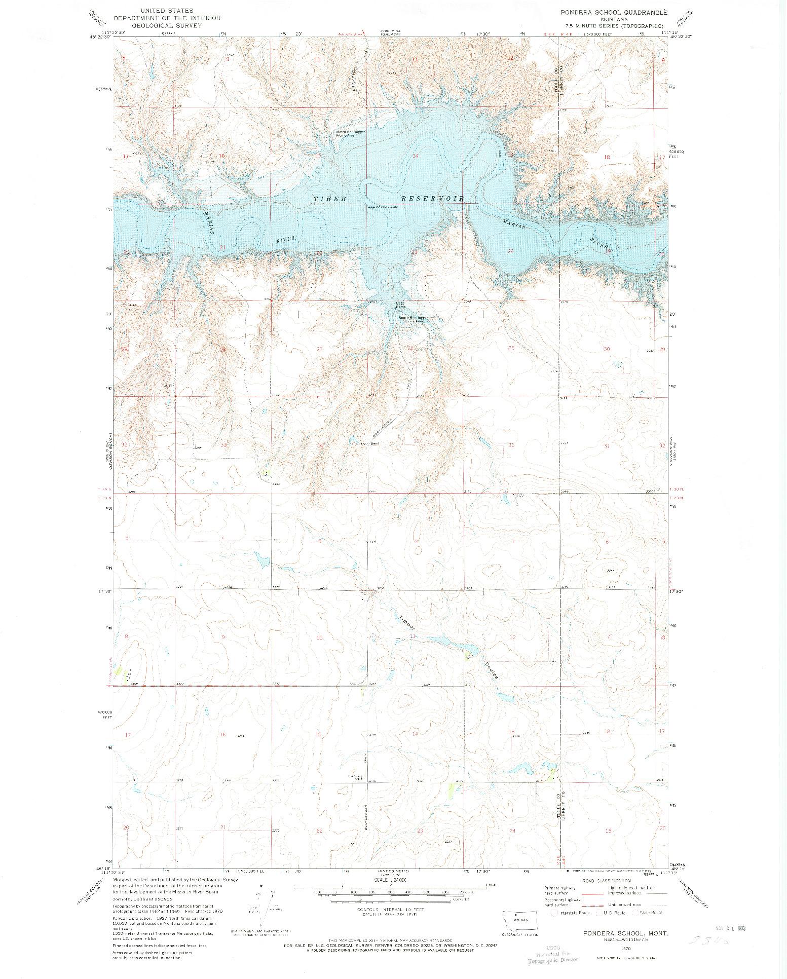 USGS 1:24000-SCALE QUADRANGLE FOR PONDERA SCHOOL, MT 1970