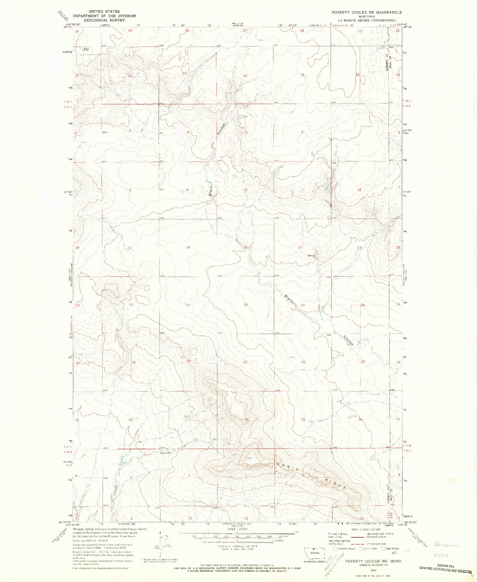USGS 1:24000-SCALE QUADRANGLE FOR POVERTY COULEE NE, MT 1970