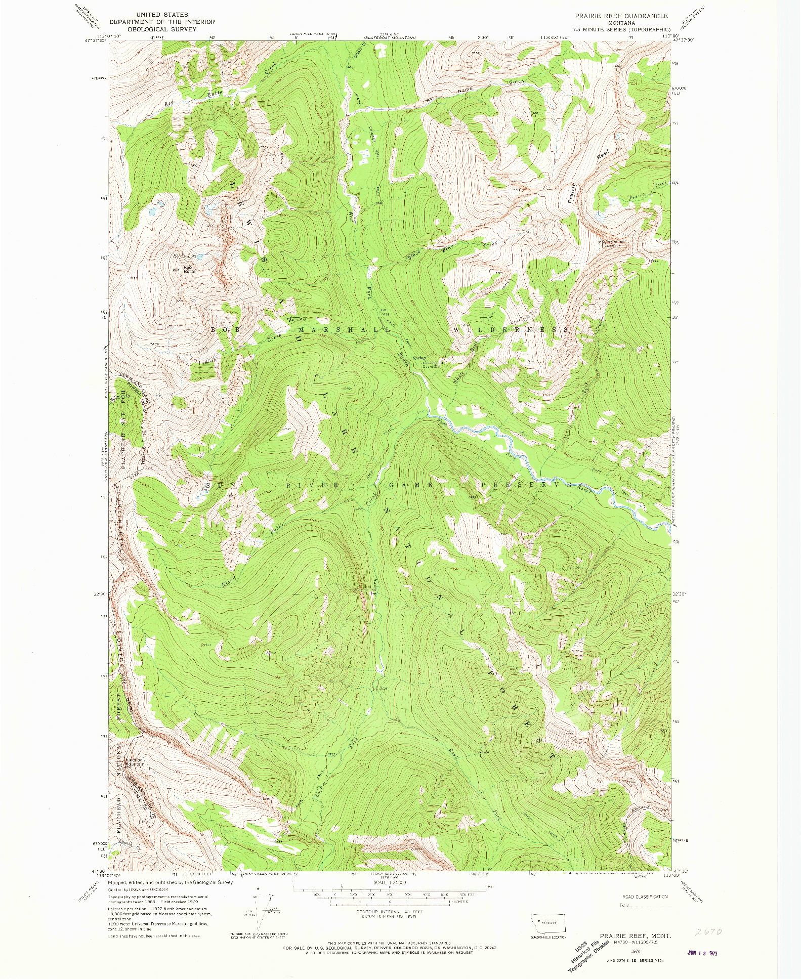 USGS 1:24000-SCALE QUADRANGLE FOR PRAIRIE REEF, MT 1970
