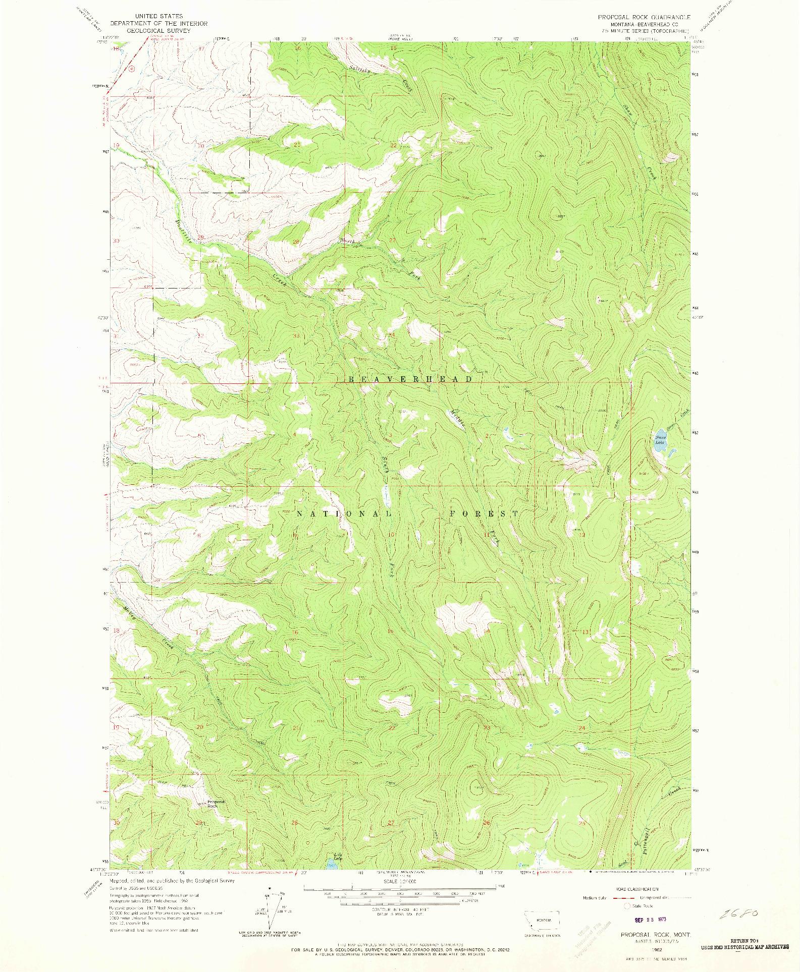 USGS 1:24000-SCALE QUADRANGLE FOR PROPOSAL ROCK, MT 1962