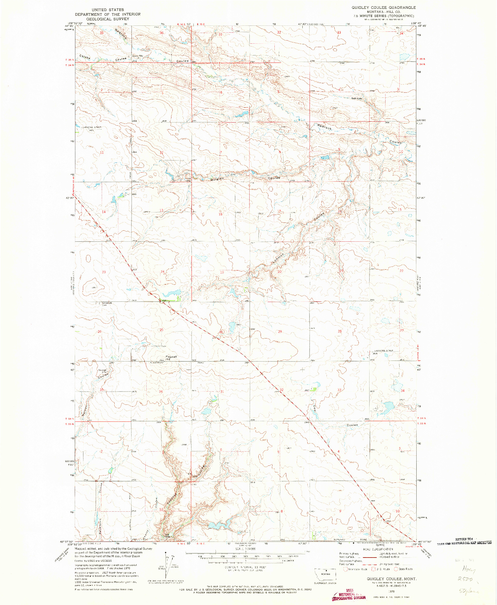 USGS 1:24000-SCALE QUADRANGLE FOR QUIGLEY COULEE, MT 1970
