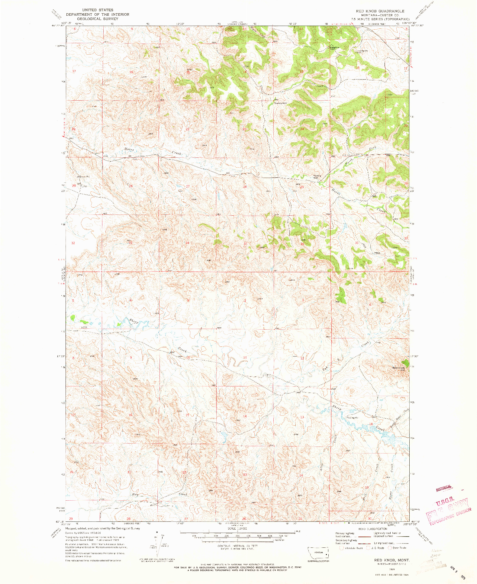 USGS 1:24000-SCALE QUADRANGLE FOR RED KNOB, MT 1969