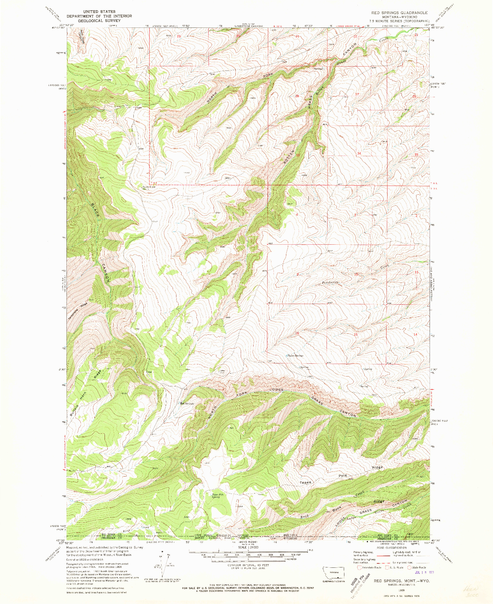 USGS 1:24000-SCALE QUADRANGLE FOR RED SPRINGS, MT 1969