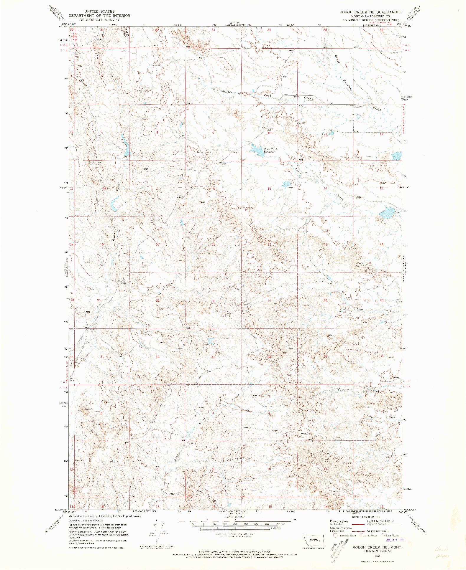 USGS 1:24000-SCALE QUADRANGLE FOR ROUGH CREEK NE, MT 1969