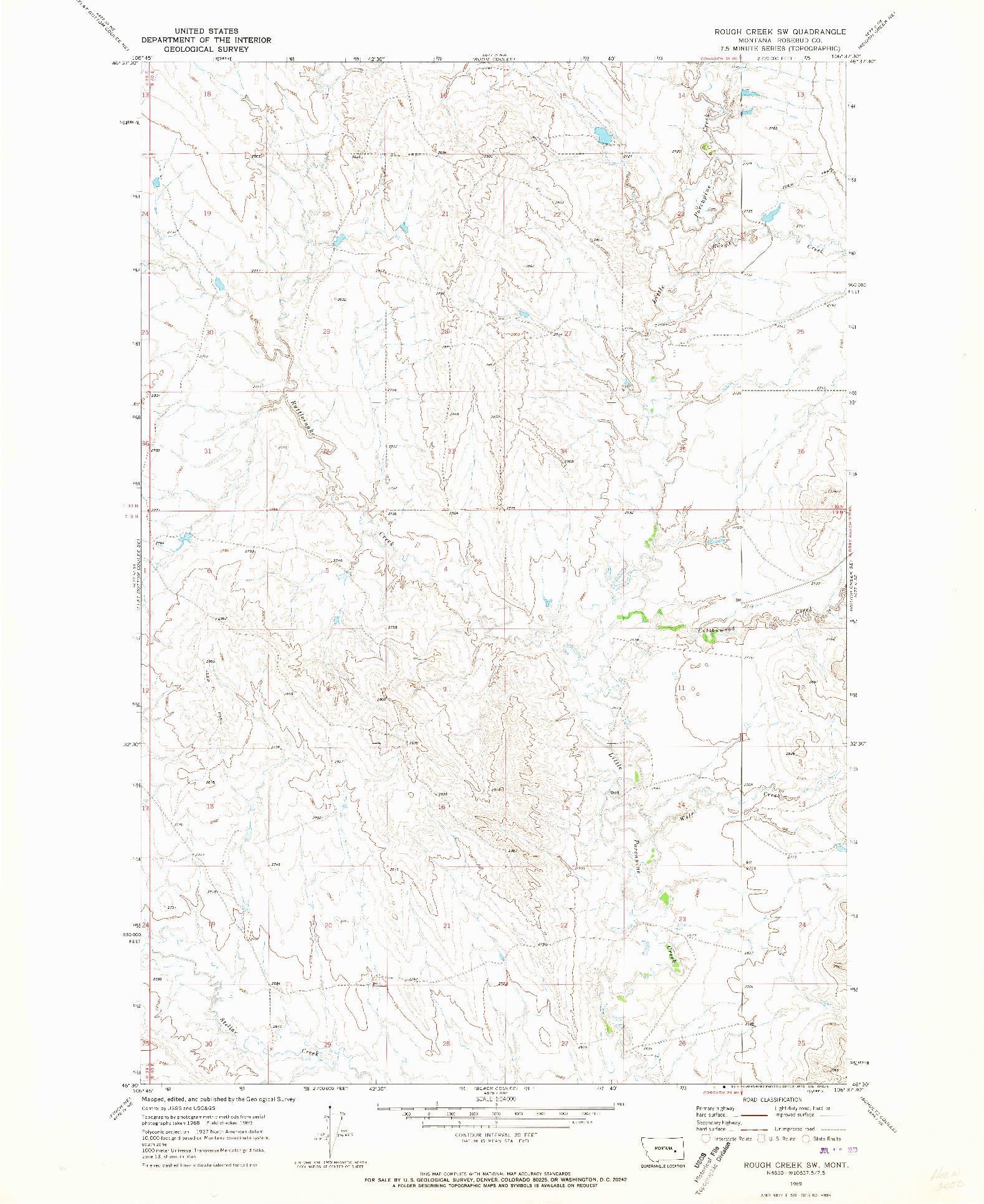 USGS 1:24000-SCALE QUADRANGLE FOR ROUGH CREEK SW, MT 1969