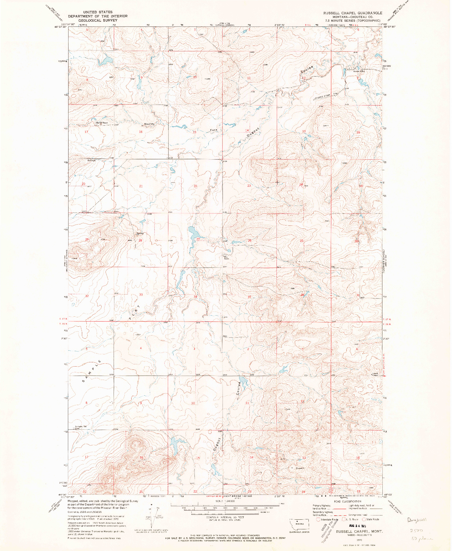USGS 1:24000-SCALE QUADRANGLE FOR RUSSELL CHAPEL, MT 1970