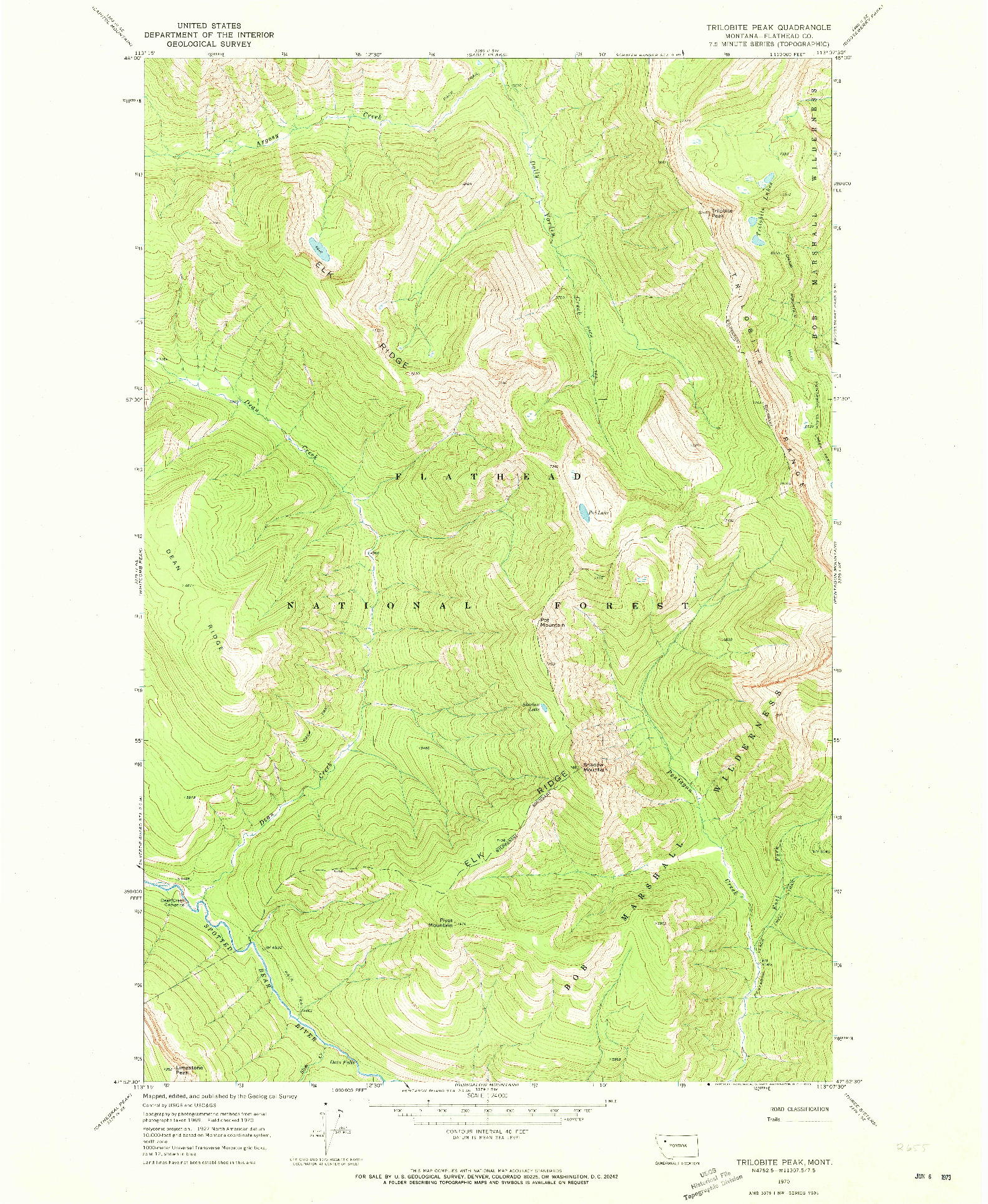USGS 1:24000-SCALE QUADRANGLE FOR TRILOBITE PEAK, MT 1970