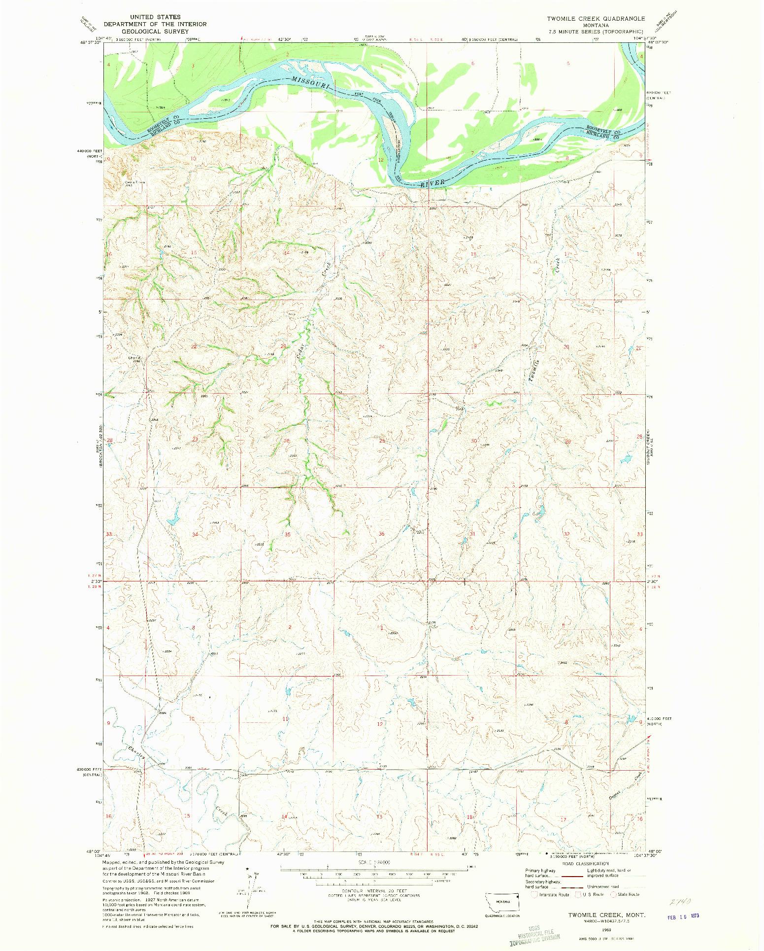 USGS 1:24000-SCALE QUADRANGLE FOR TWOMILE CREEK, MT 1969
