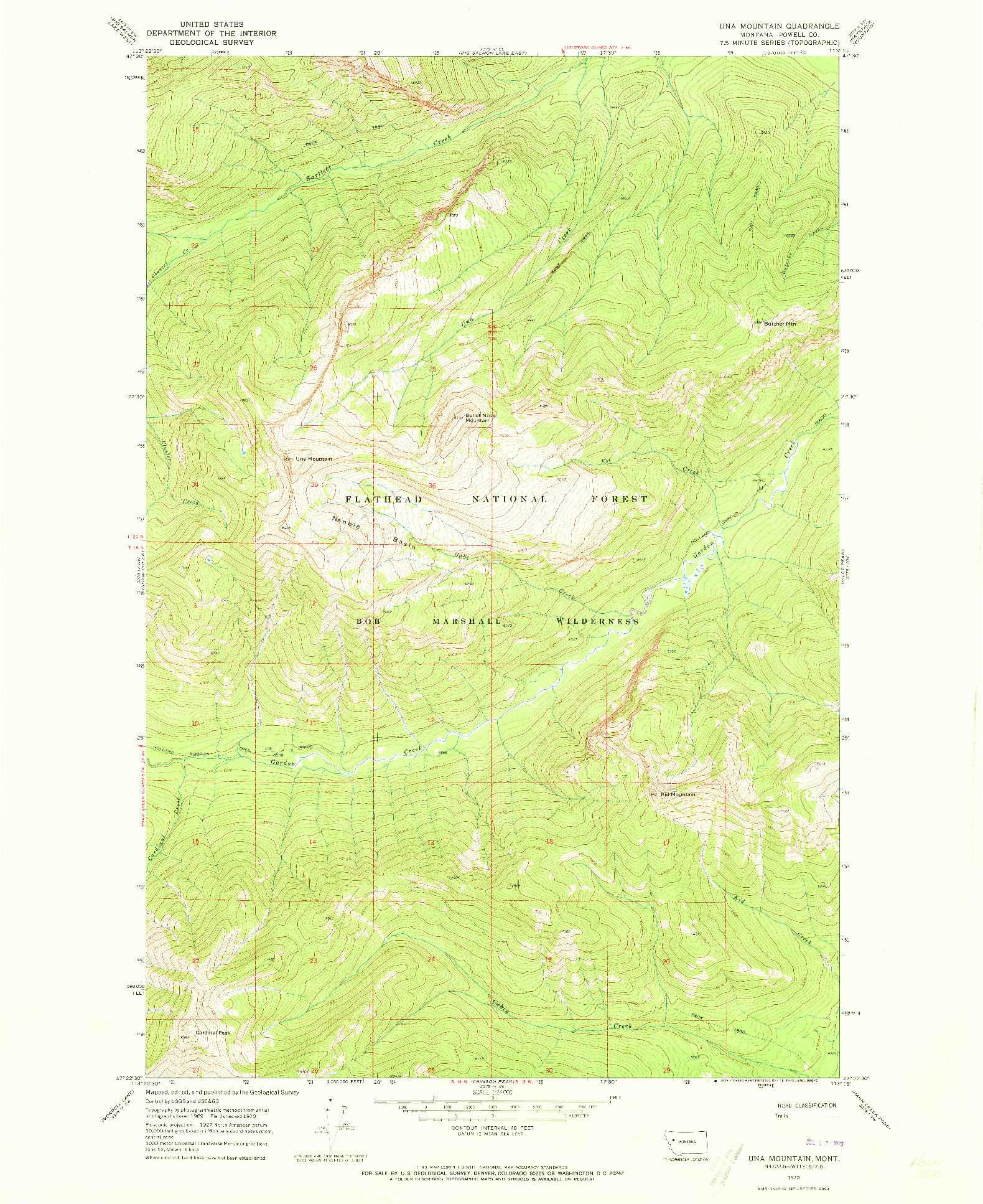 USGS 1:24000-SCALE QUADRANGLE FOR UNA MOUNTAIN, MT 1970