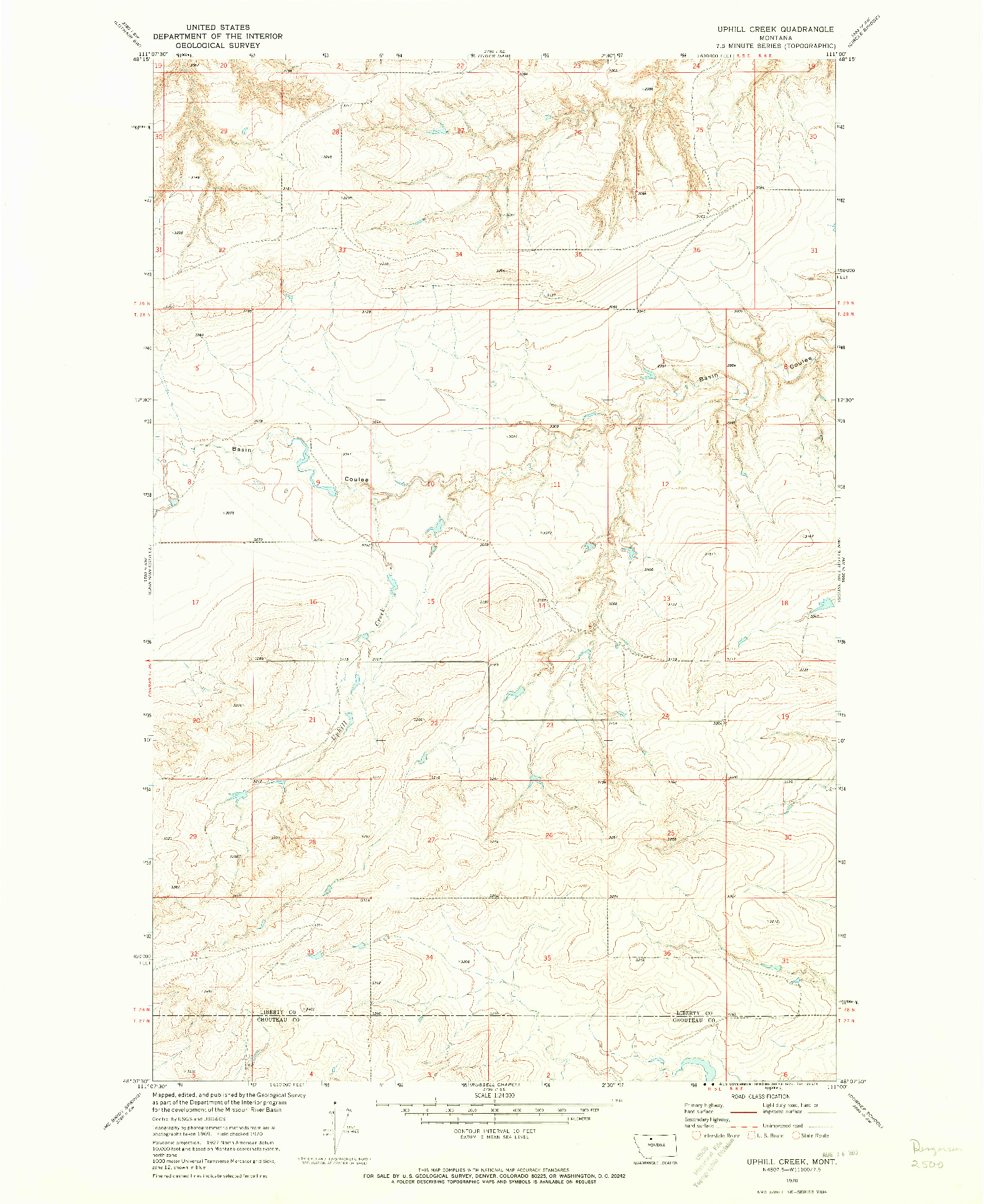 USGS 1:24000-SCALE QUADRANGLE FOR UPHILL CREEK, MT 1970