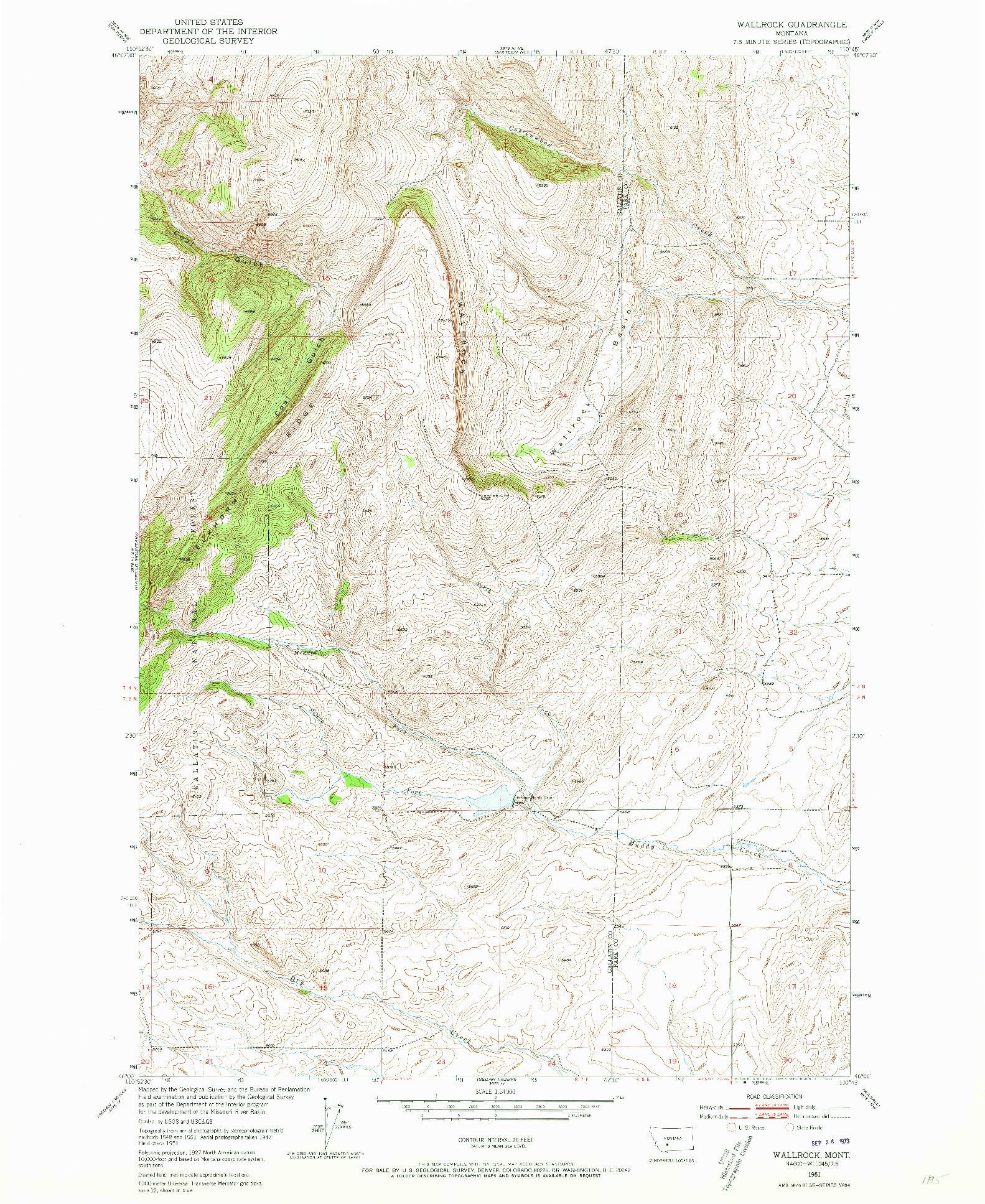USGS 1:24000-SCALE QUADRANGLE FOR WALLROCK, MT 1951