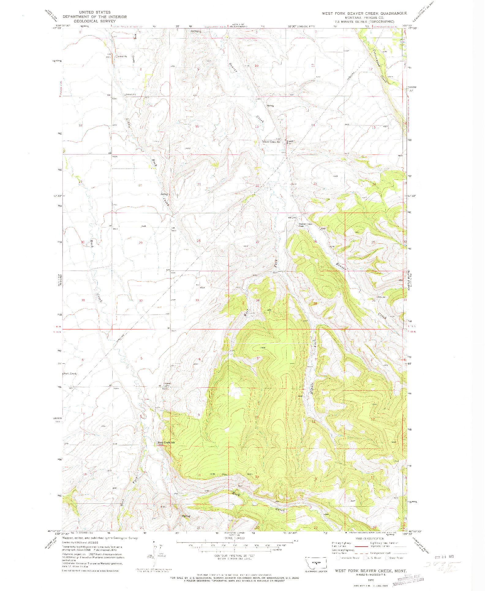 USGS 1:24000-SCALE QUADRANGLE FOR WEST FORK BEAVER CREEK, MT 1970
