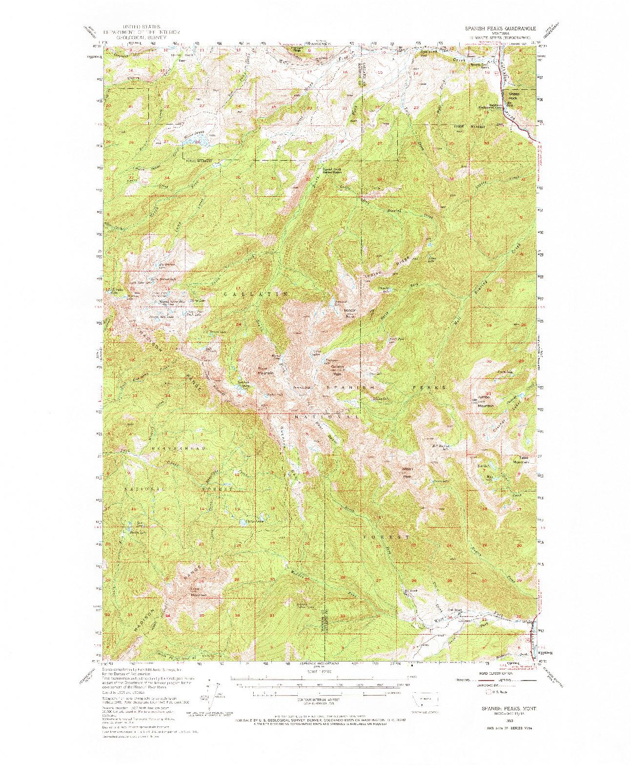 USGS 1:62500-SCALE QUADRANGLE FOR SPANISH PEAKS, MT 1950