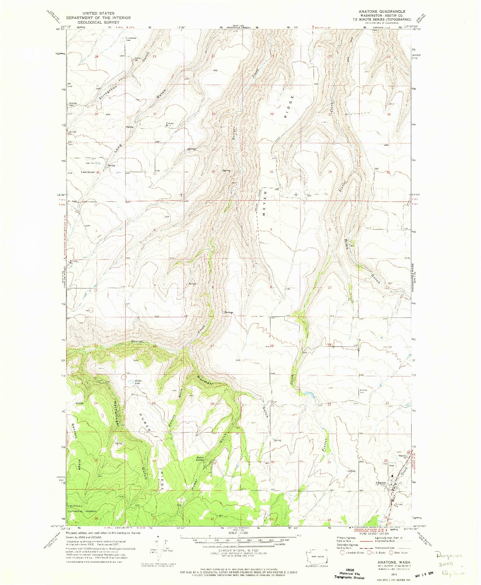 USGS 1:24000-SCALE QUADRANGLE FOR ANATONE, WA 1971